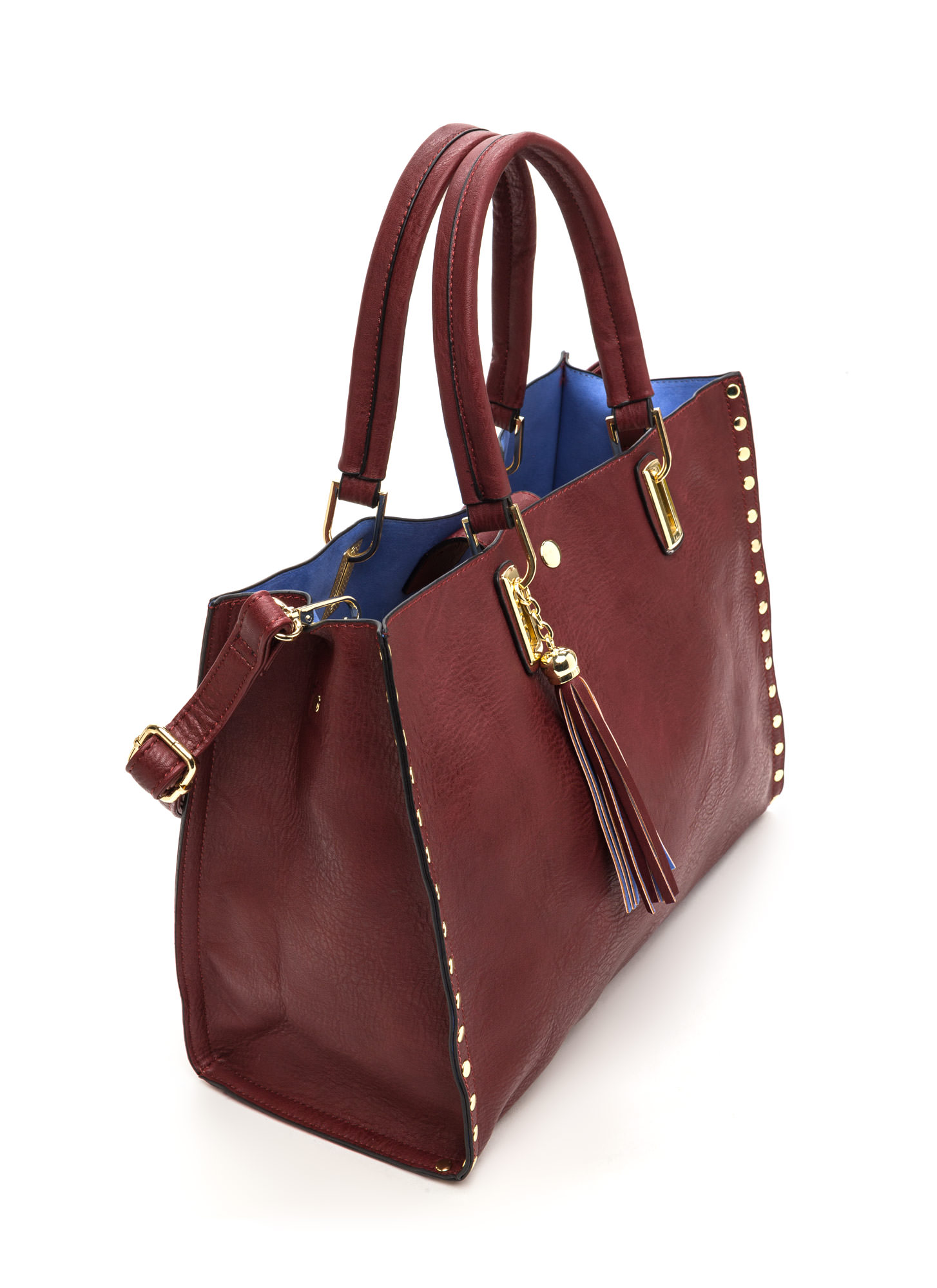 Daily Commute Studded Faux Leather Tote BURGUNDY