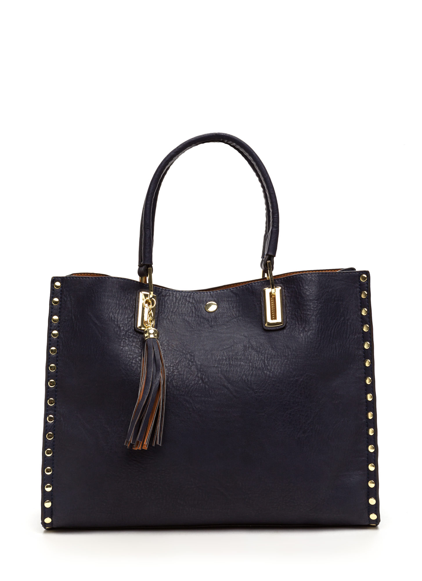 Daily Commute Studded Faux Leather Tote NAVY