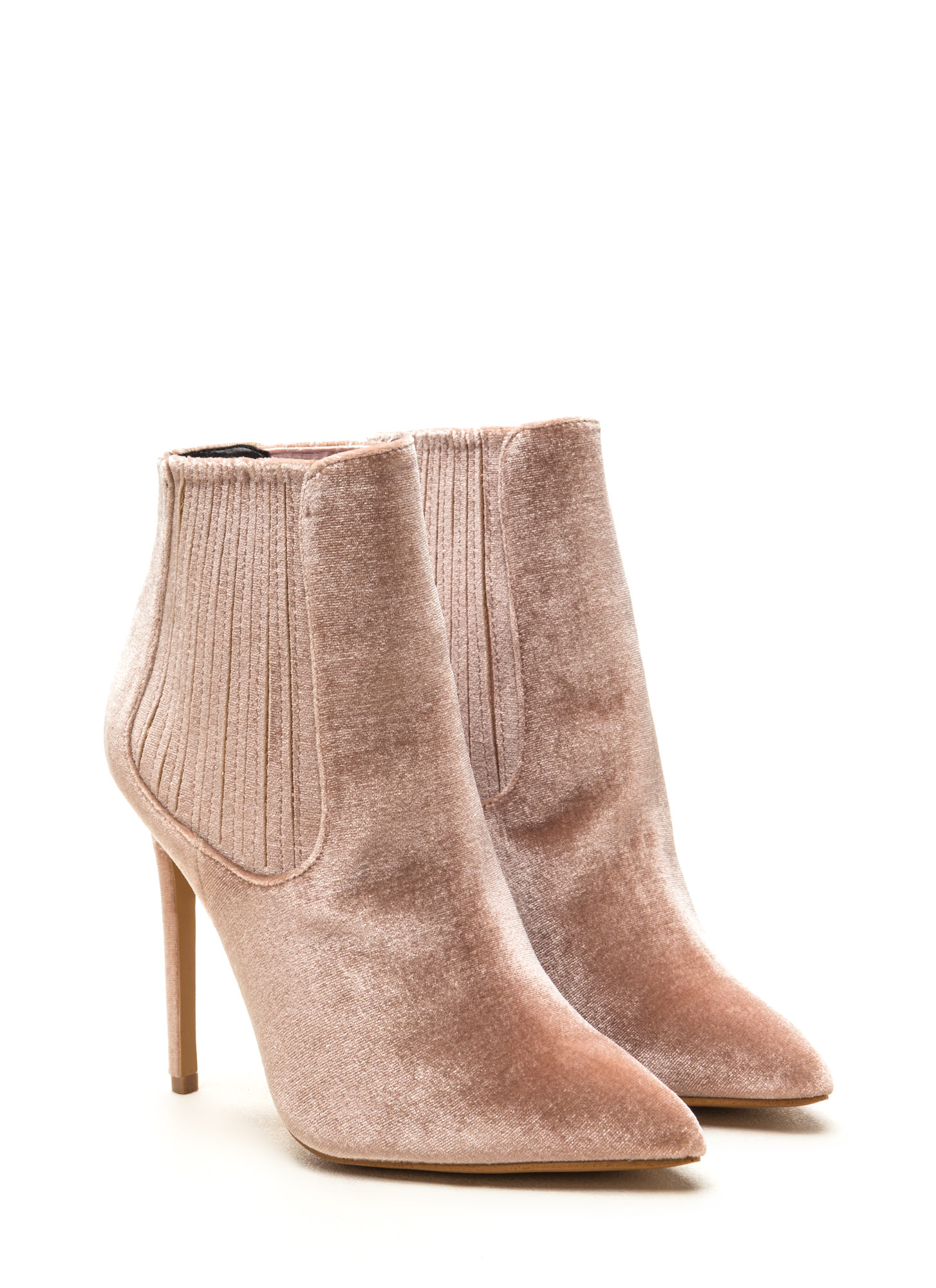 Sleek Attack Pointy Velvet Booties NUDE