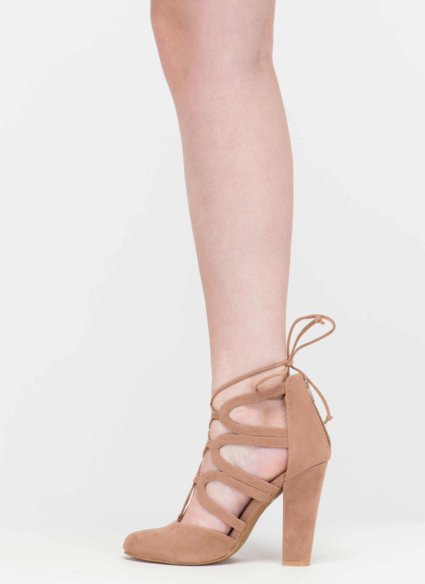 Vixen In Velvet Chunky Lace-Up Heels TAUPE