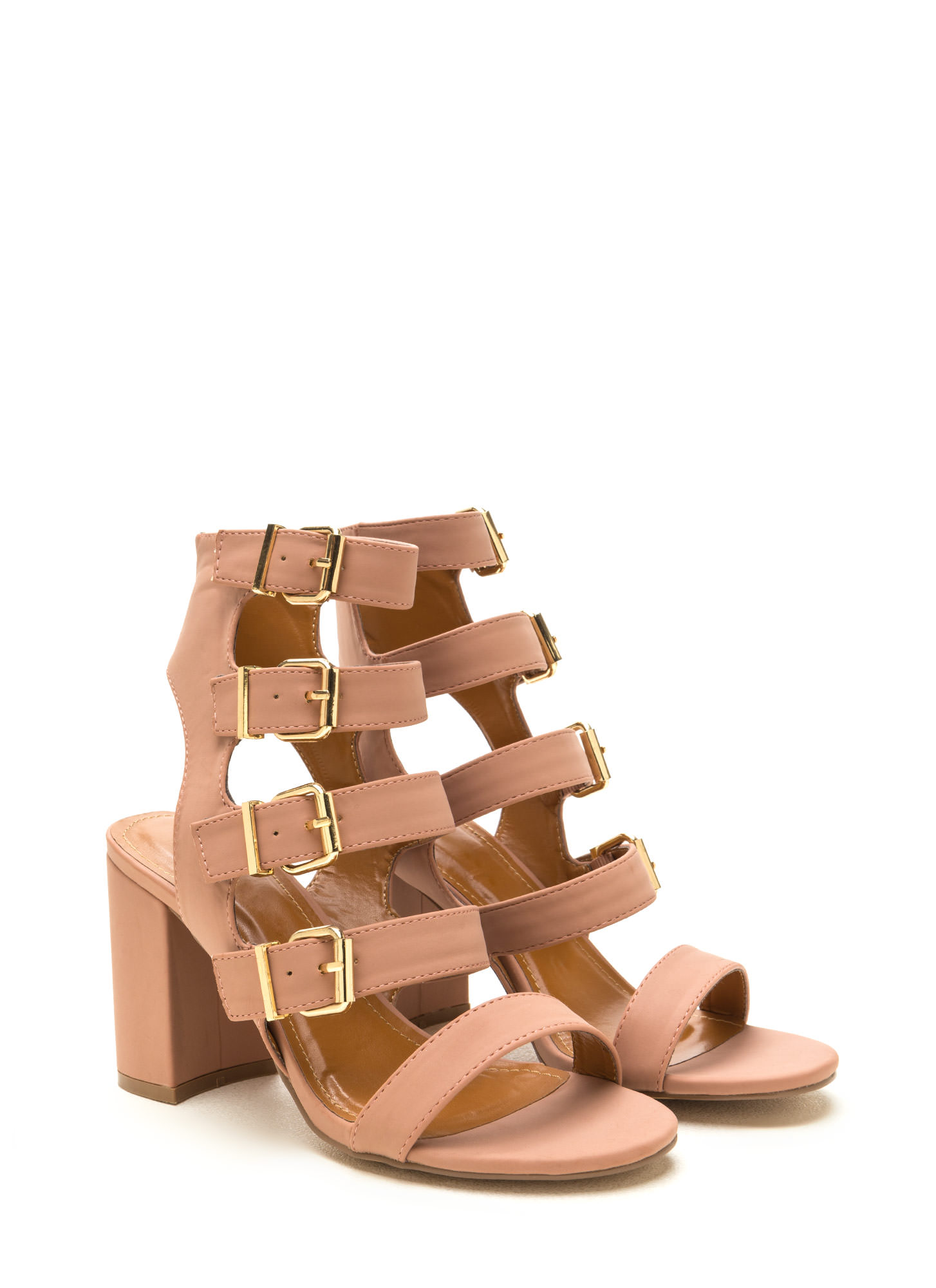 Gimme Five Faux Nubuck Chunky Heels TAUPE