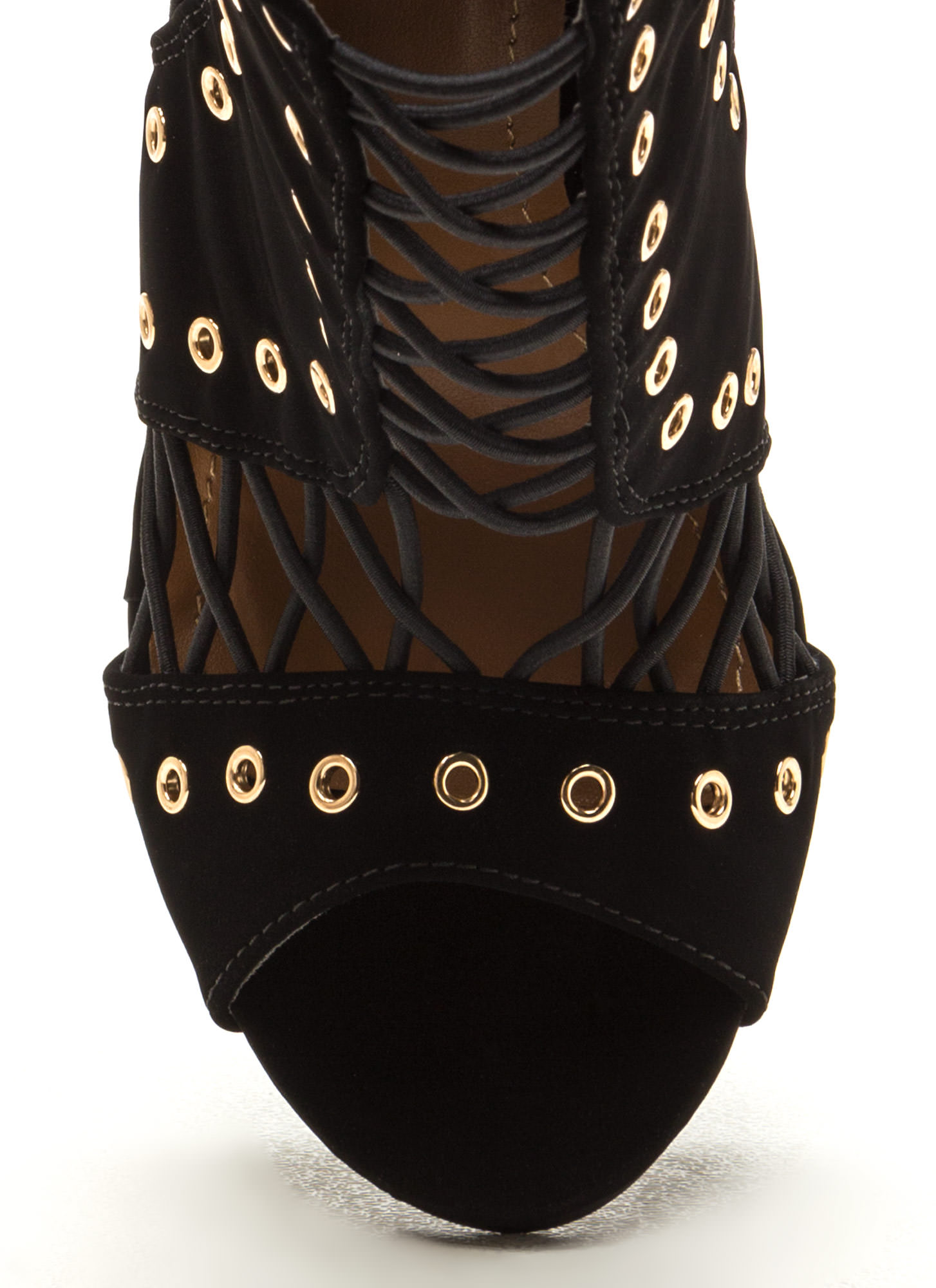 Style Expert Caged Faux Nubuck Heels BLACK