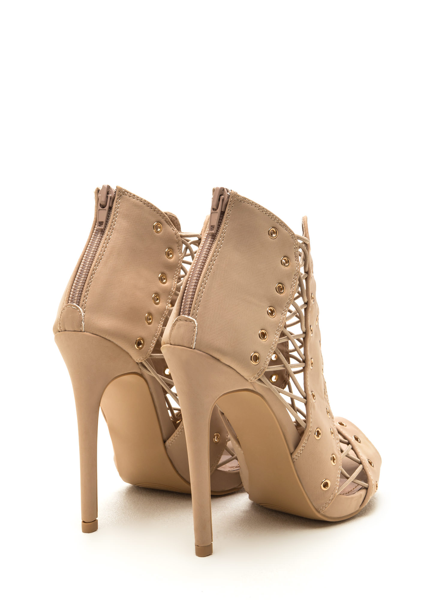 Style Expert Caged Faux Nubuck Heels CAMEL