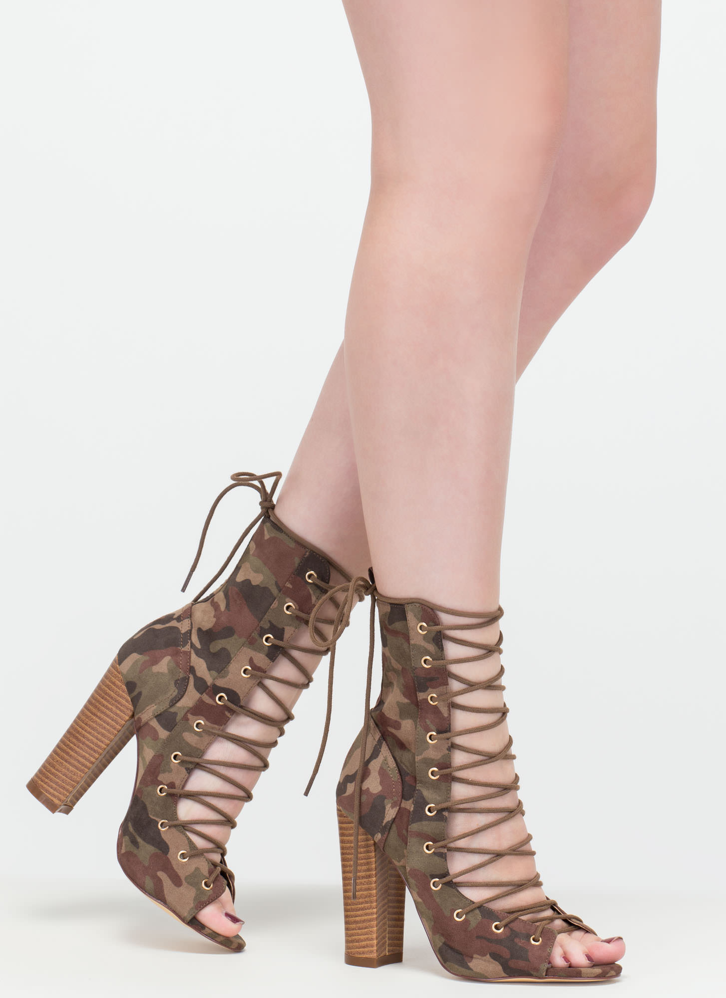 Simply Bootie-ful Lace-Up Camo Heels CAMOUFLAGE