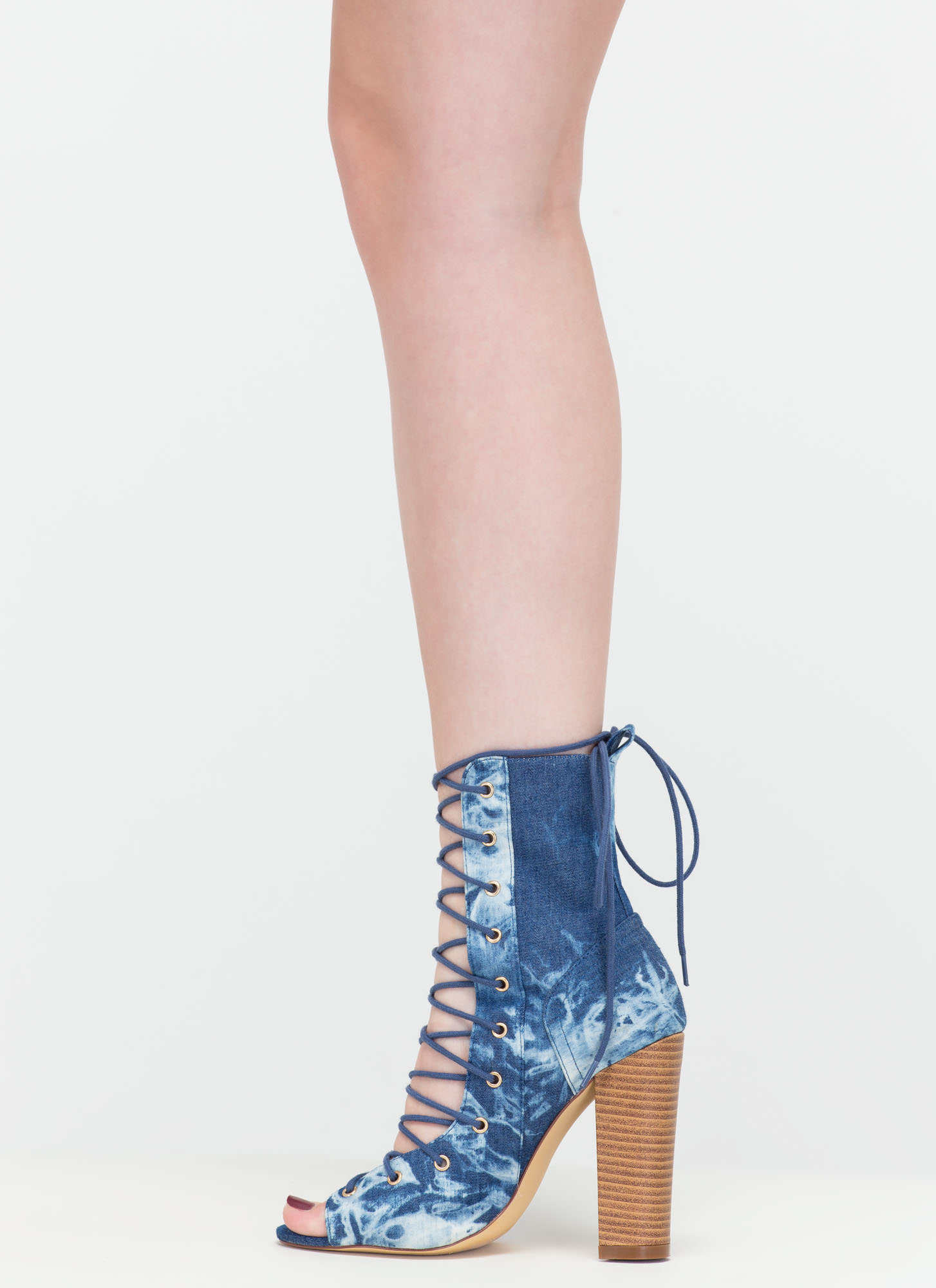 Simply Bootie-ful Lace-Up Denim Heels DENIM