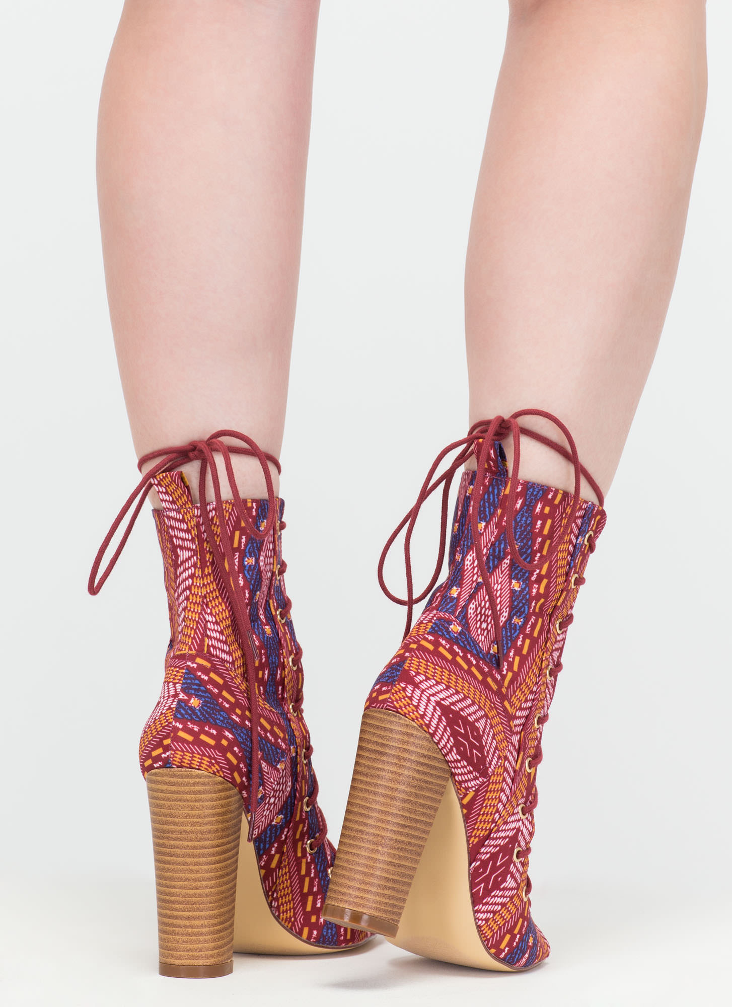 Simply Bootie-ful Lace-Up Tribal Heels WINE