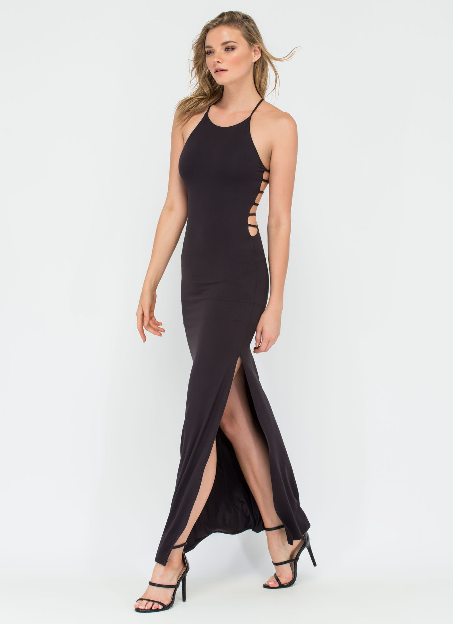 Cage Of Consent Ladder Strap Maxi Dress BLACK