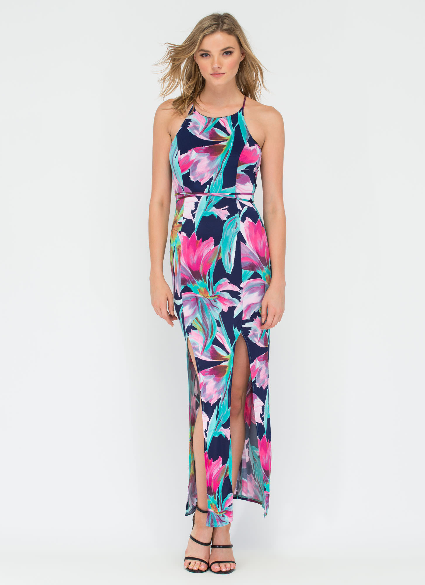 Perfect In Petals Lace-Up Maxi Dress NAVY (Final Sale)