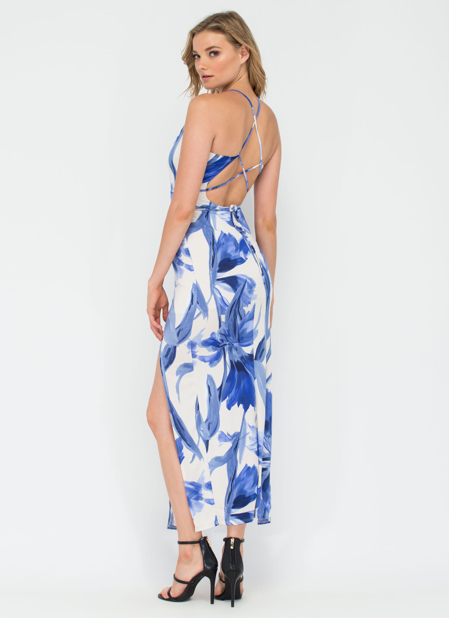 Paradise Found Floral Maxi Dress BLUE