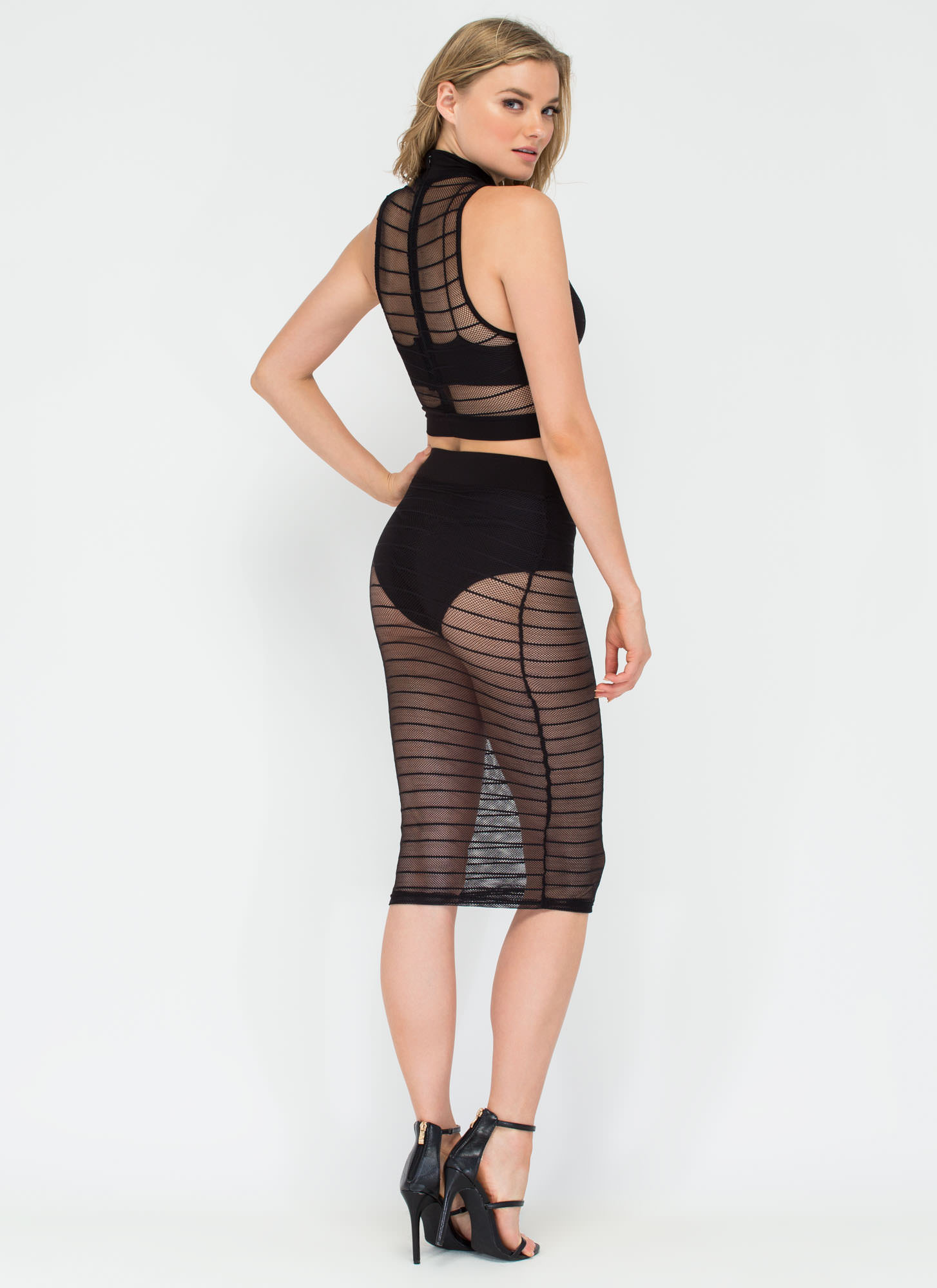 Lined Up Cut-Out Sheer Mesh Dress BLACK