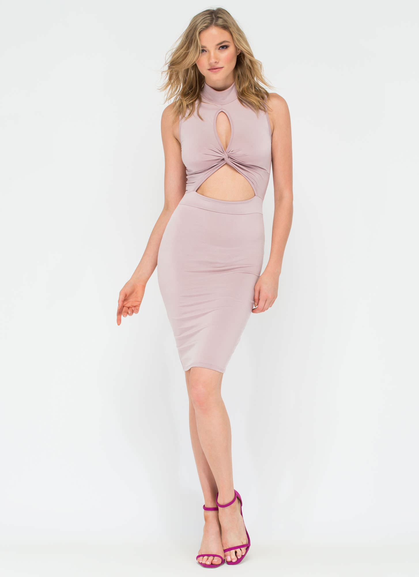 Twisting The Night Away Cut-Out Dress MAUVE