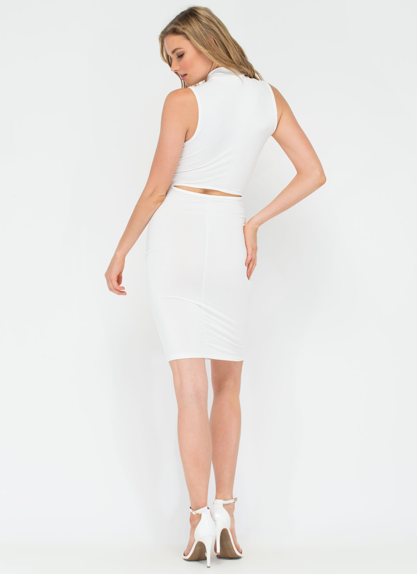 Twisting The Night Away Cut-Out Dress WHITE