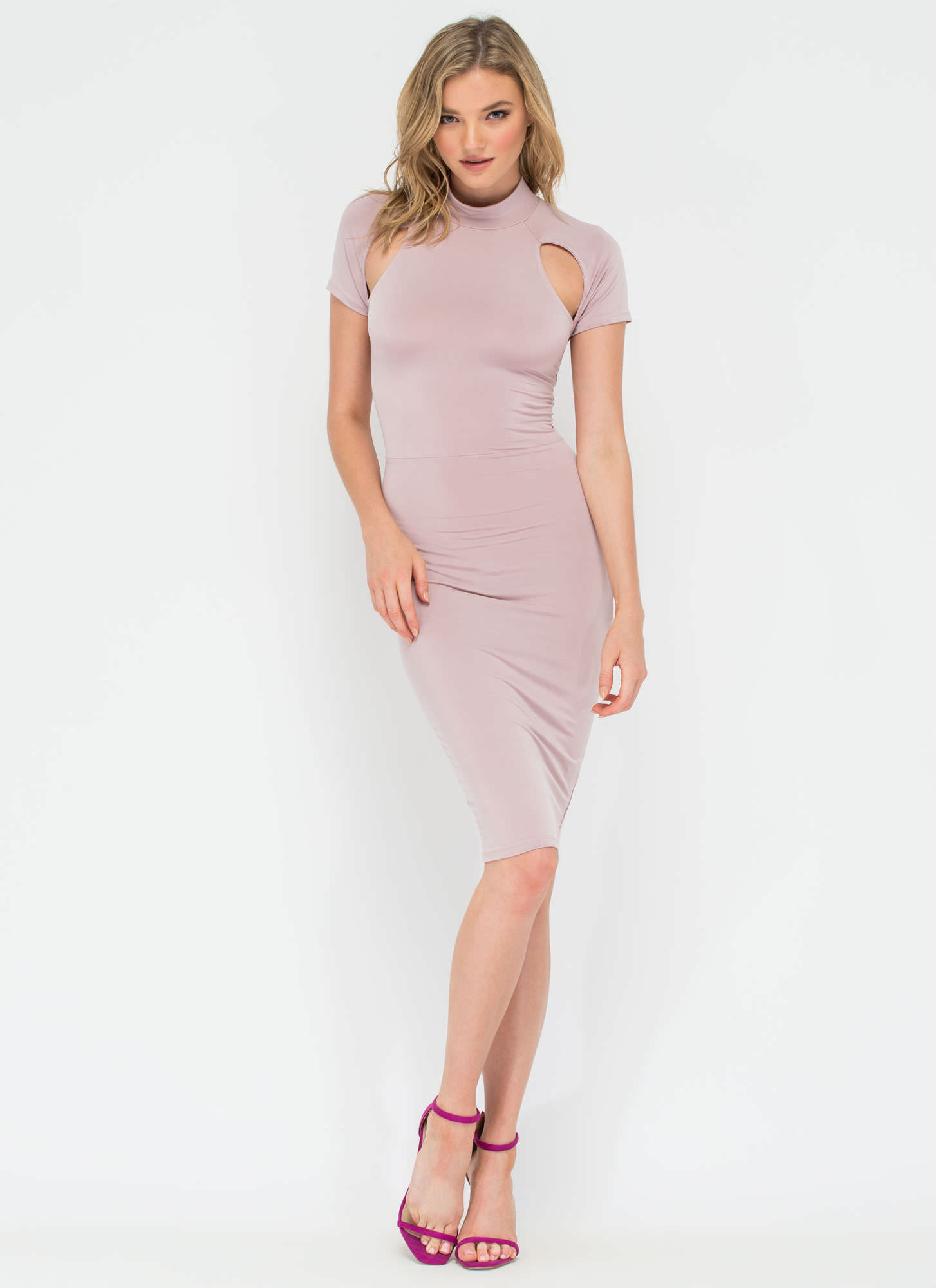 Unarmed Cut-Out Laced Back Midi Dress MAUVE (Final Sale)