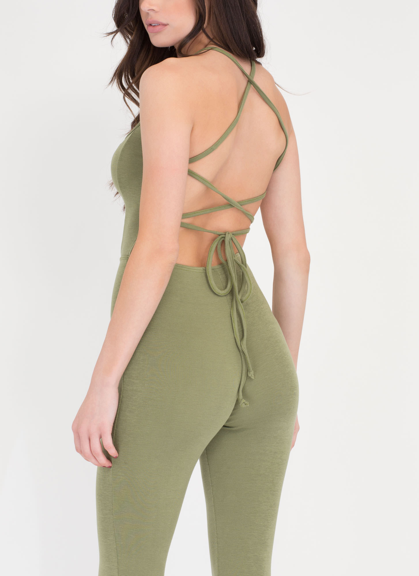 Back At It Again Strappy Full Bodysuit OLIVE