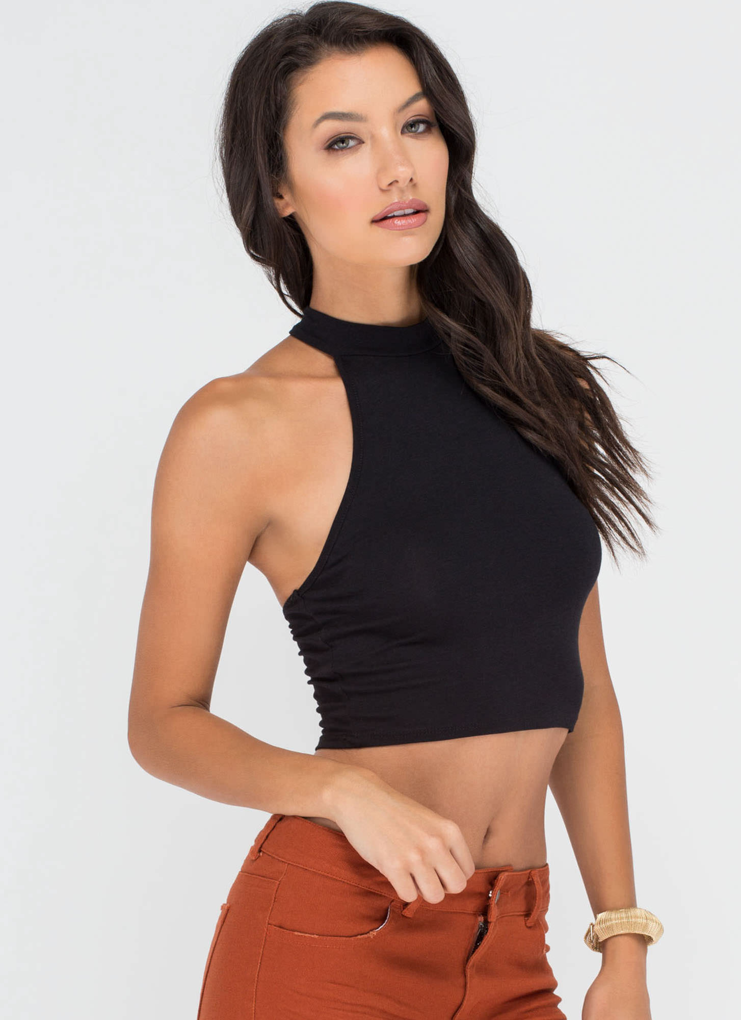 Make It A Double Racer Crop Top BLACK