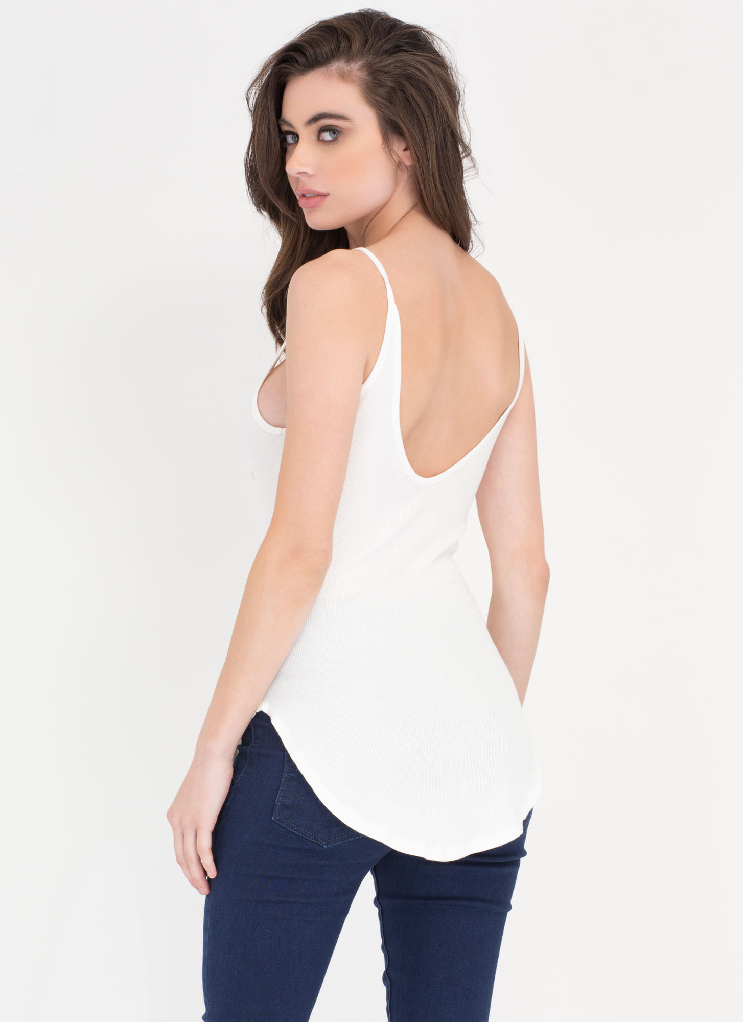 Well-Rounded Rib Knit Scoop Tank WHITE