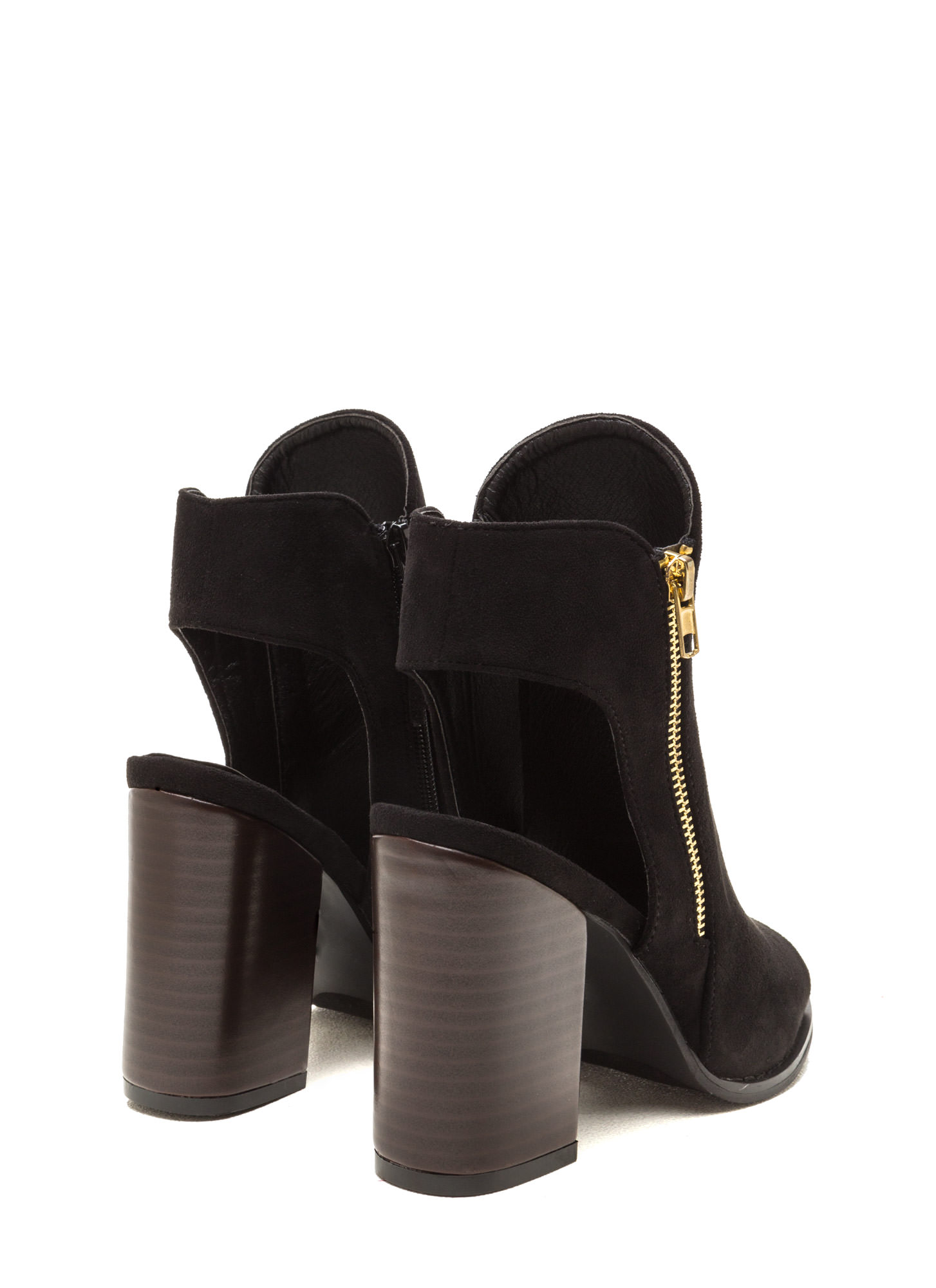 Send My Love Zippered Cut-Out Booties BLACK