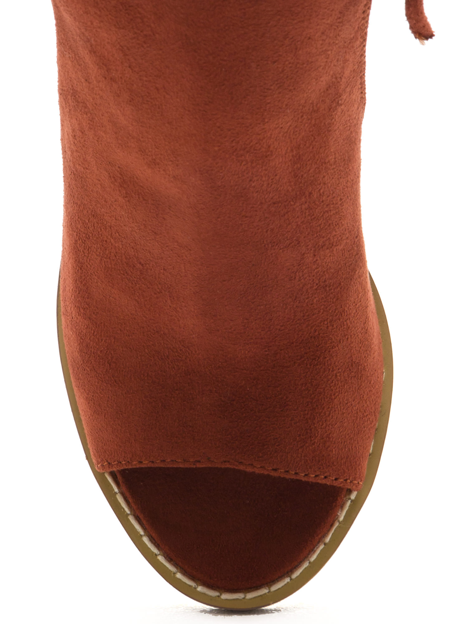 Send My Love Zippered Cut-Out Booties RUST
