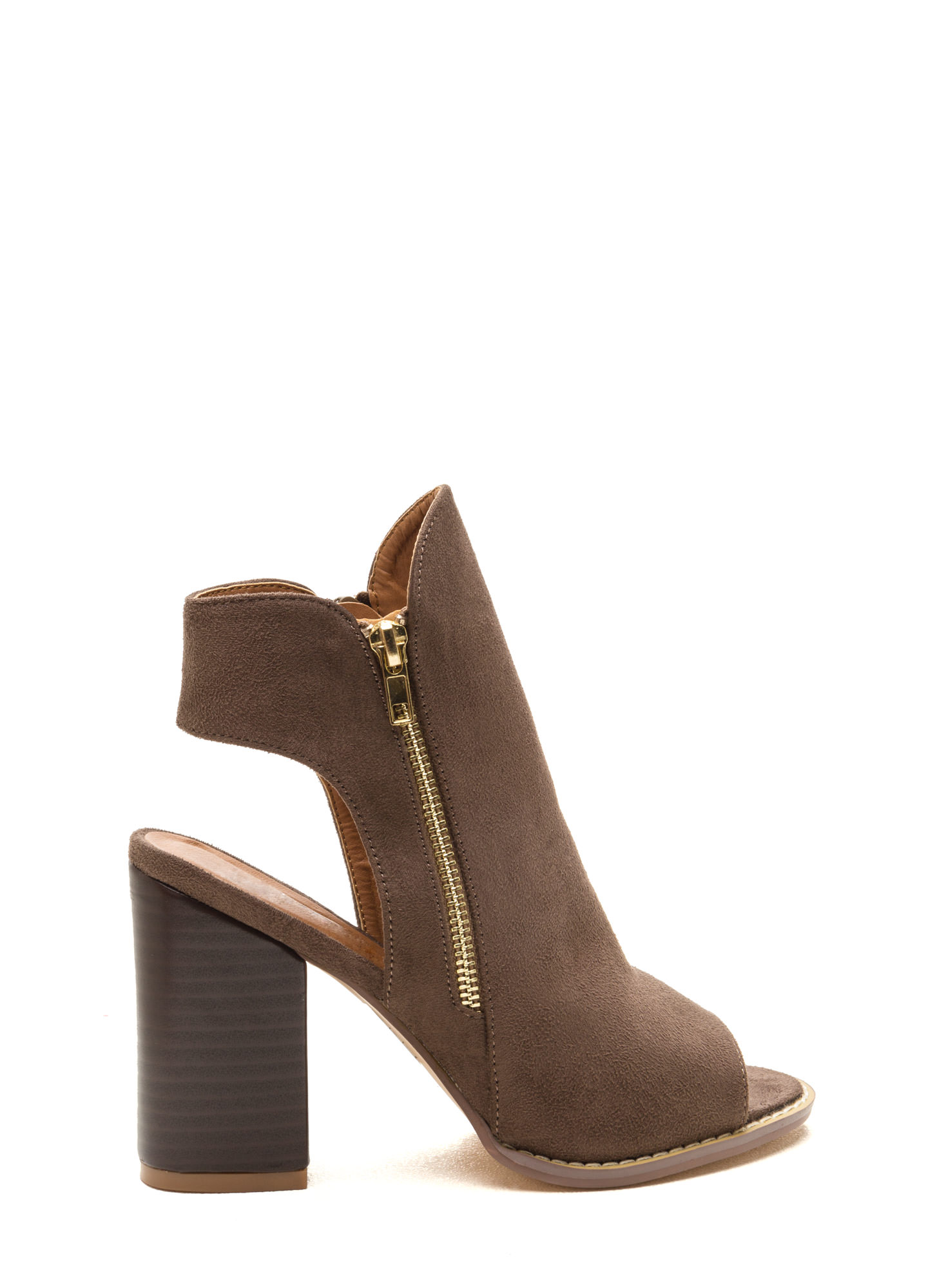 Send My Love Zippered Cut-Out Booties TAUPE