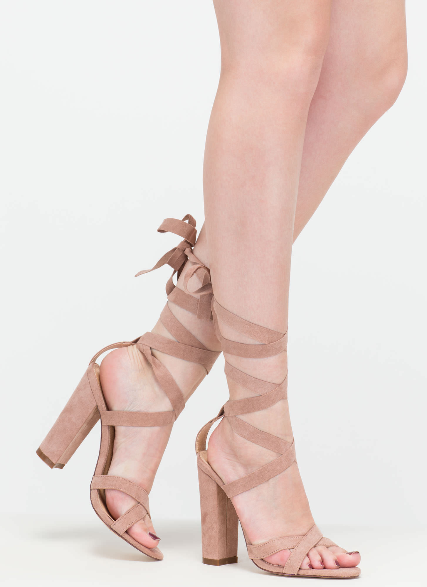 Way To Go Strappy Lace-Up Chunky Heels MAUVE