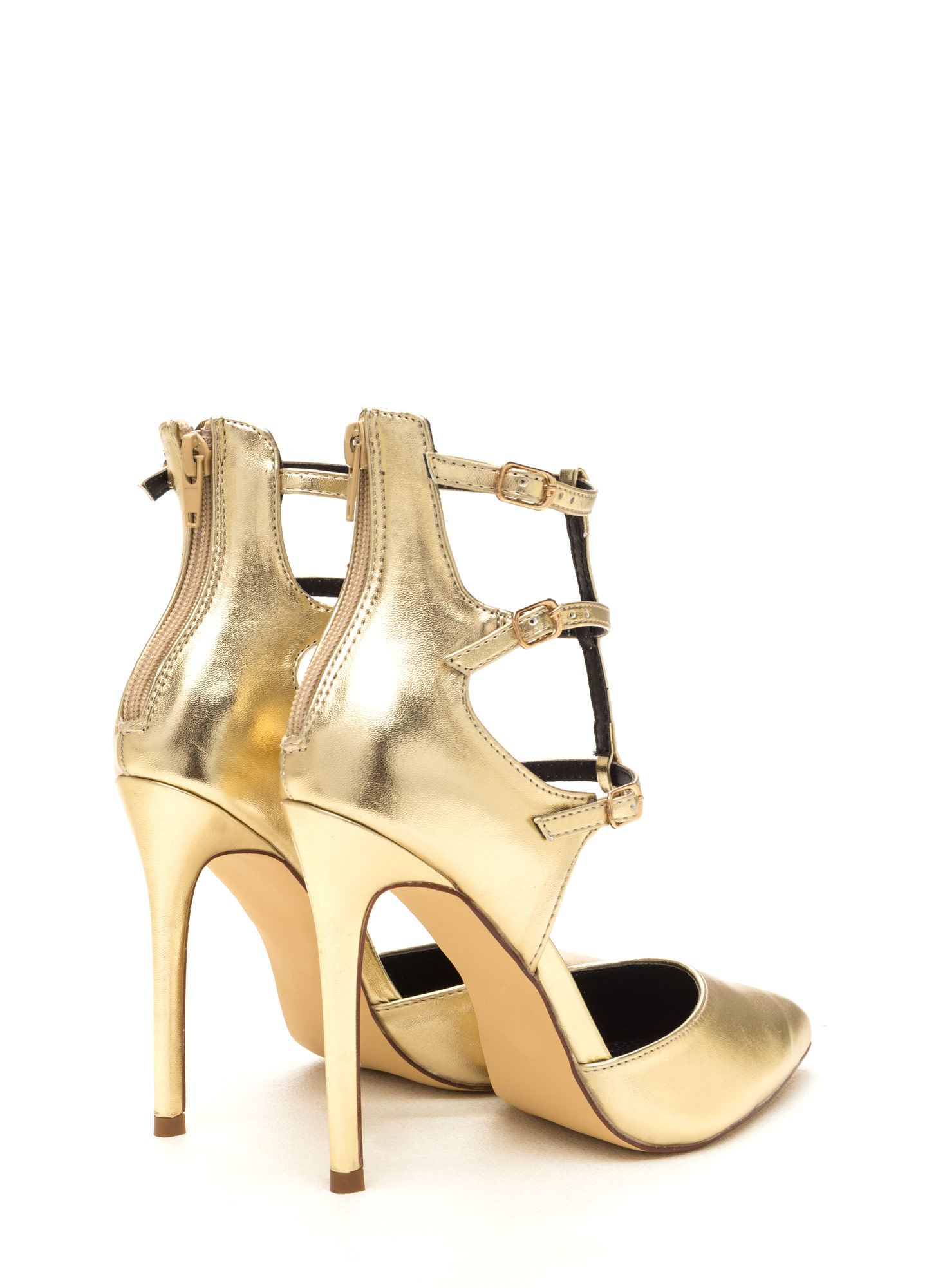 New Age Pointy Caged Metallic Heels GOLD