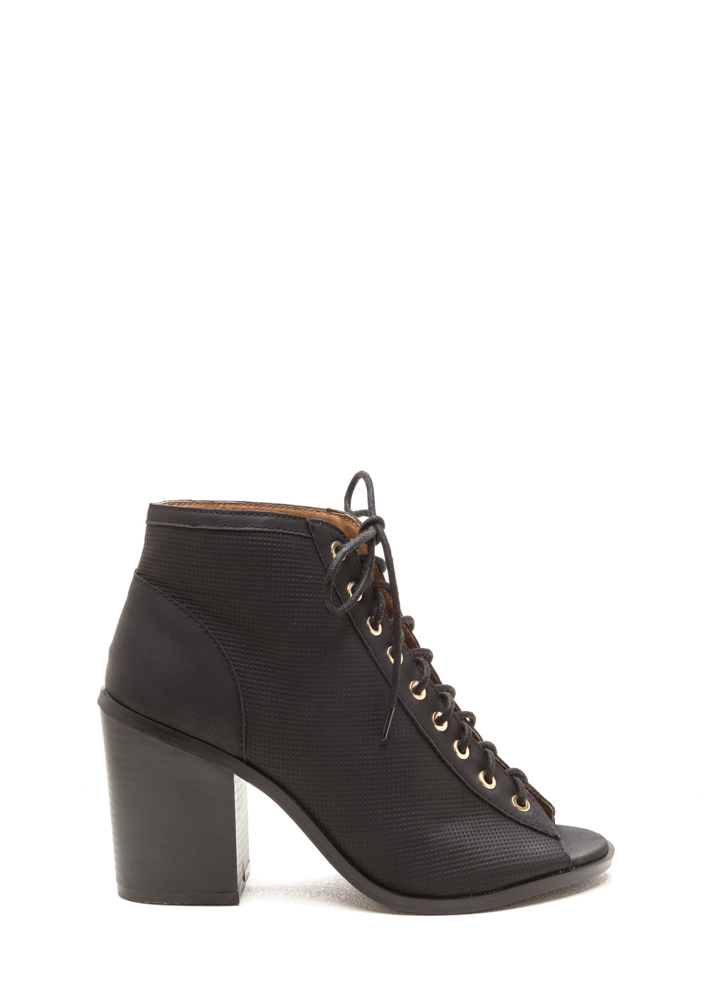 Pin Down Lace-Up Chunky Booties BLACK