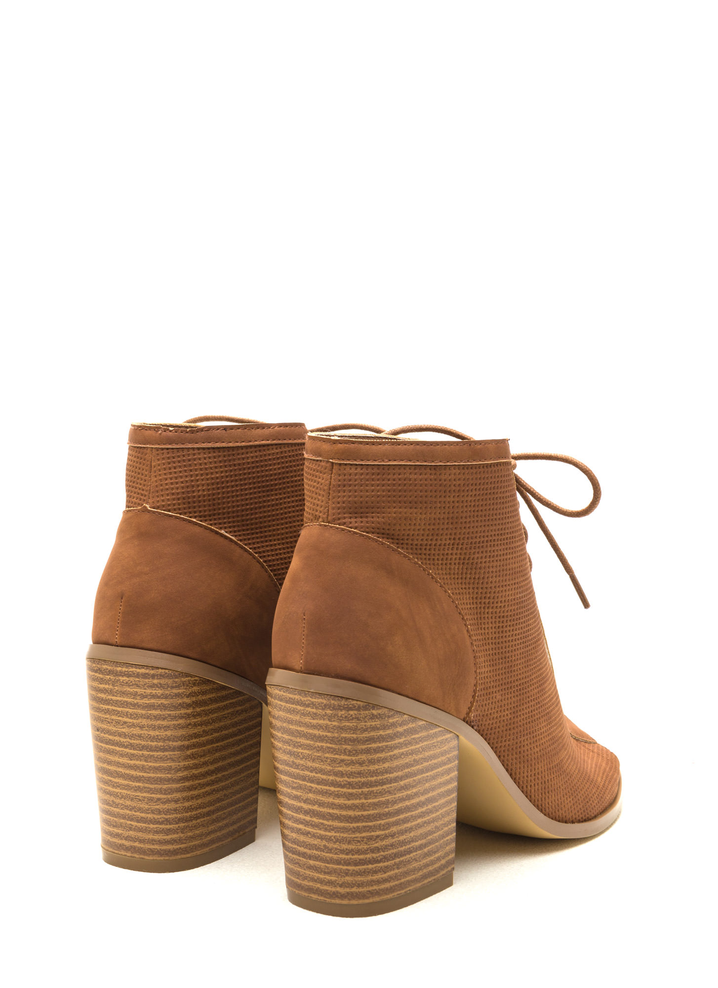 Pin Down Lace-Up Chunky Booties COGNAC