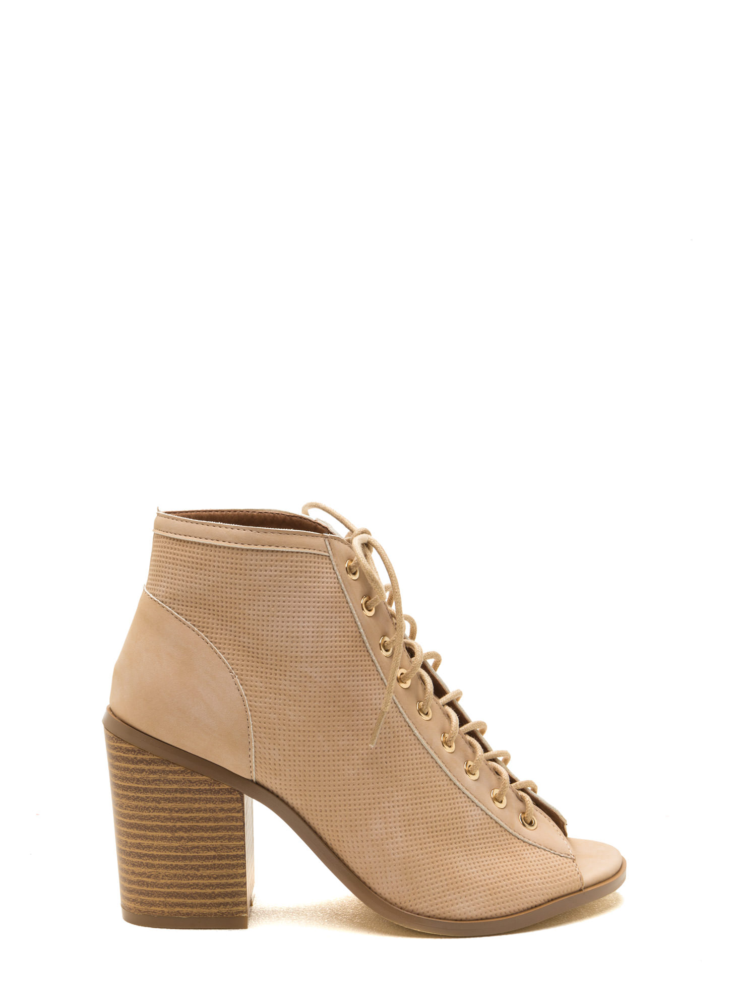 Pin Down Lace-Up Chunky Booties NUDE