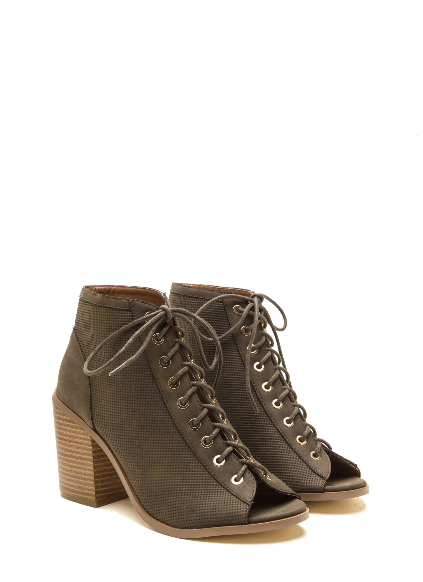 Pin Down Lace-Up Chunky Booties OLIVE
