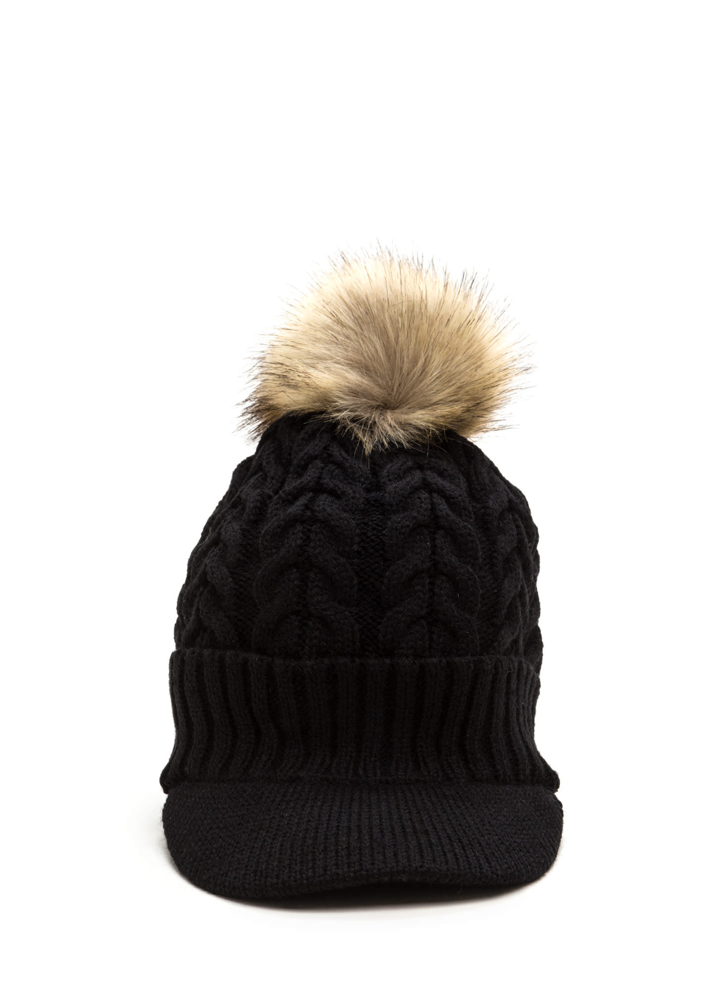 Fur-Ever Knit Pom-Pom Beanie BLACK
