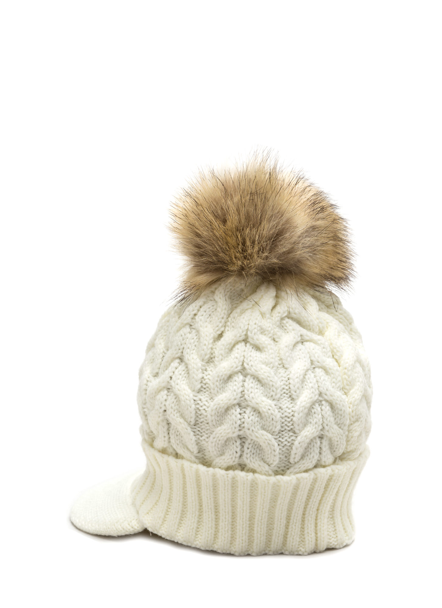 Fur-Ever Knit Pom-Pom Beanie IVORY