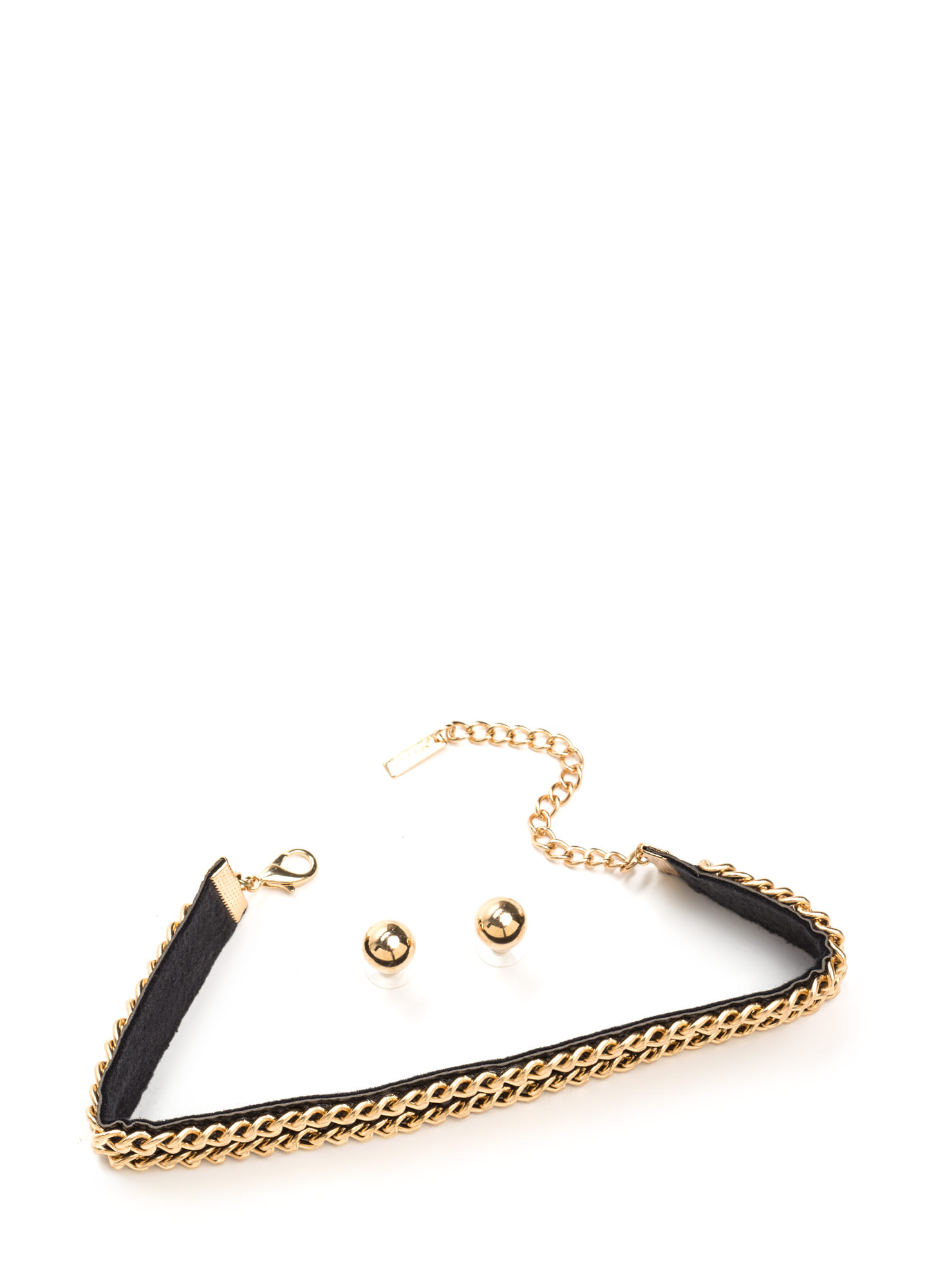 Double Or Nothing Chain Choker Set BLACKGOLD