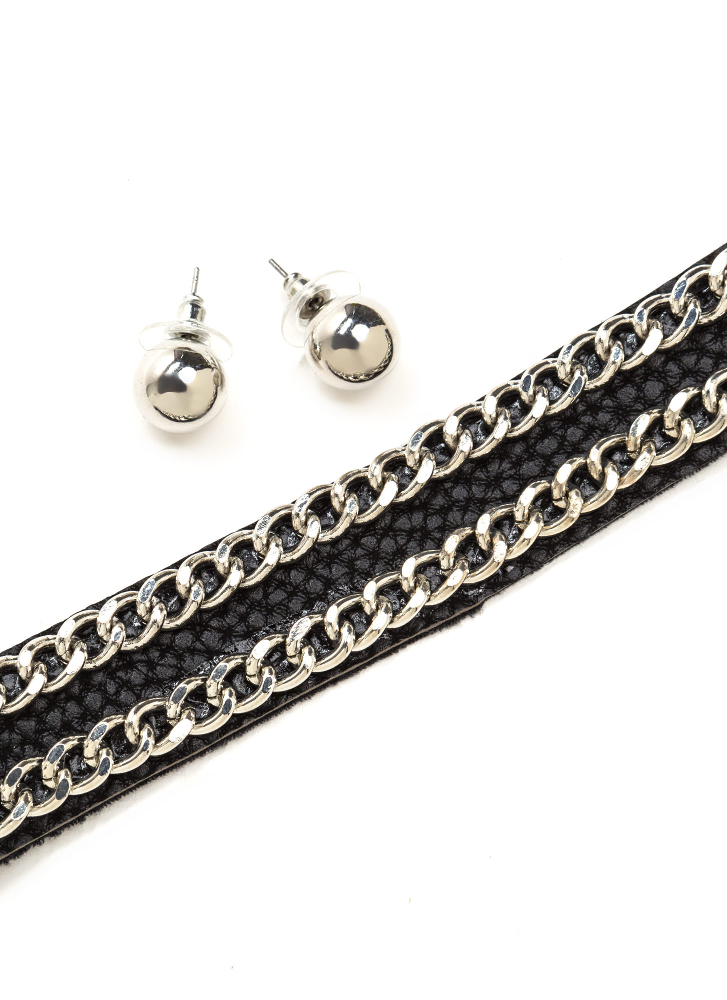 Double Or Nothing Chain Choker Set BLACKSILVER