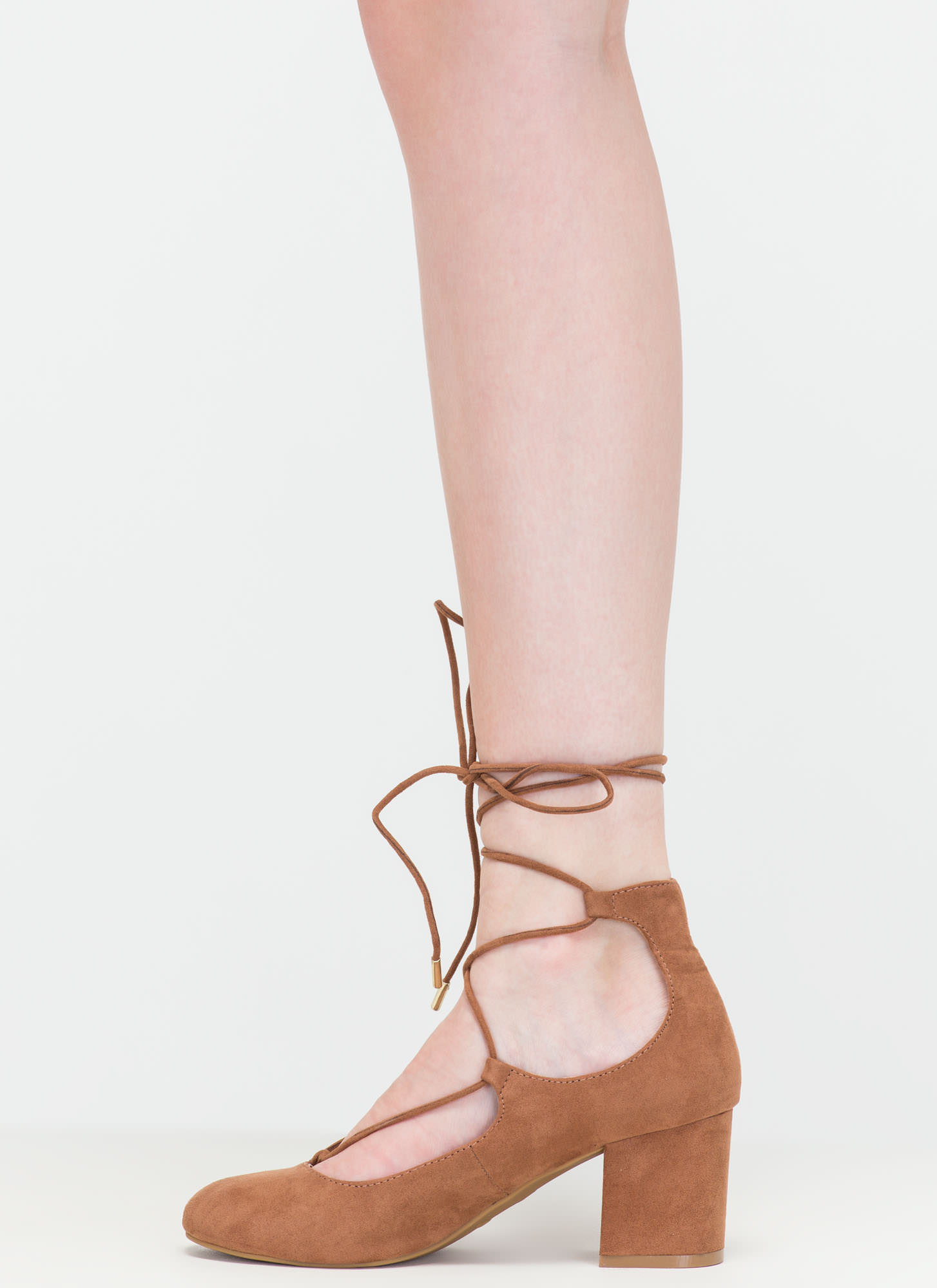 Forever A Fashionista Chunky Lace-Up Pumps CAMEL