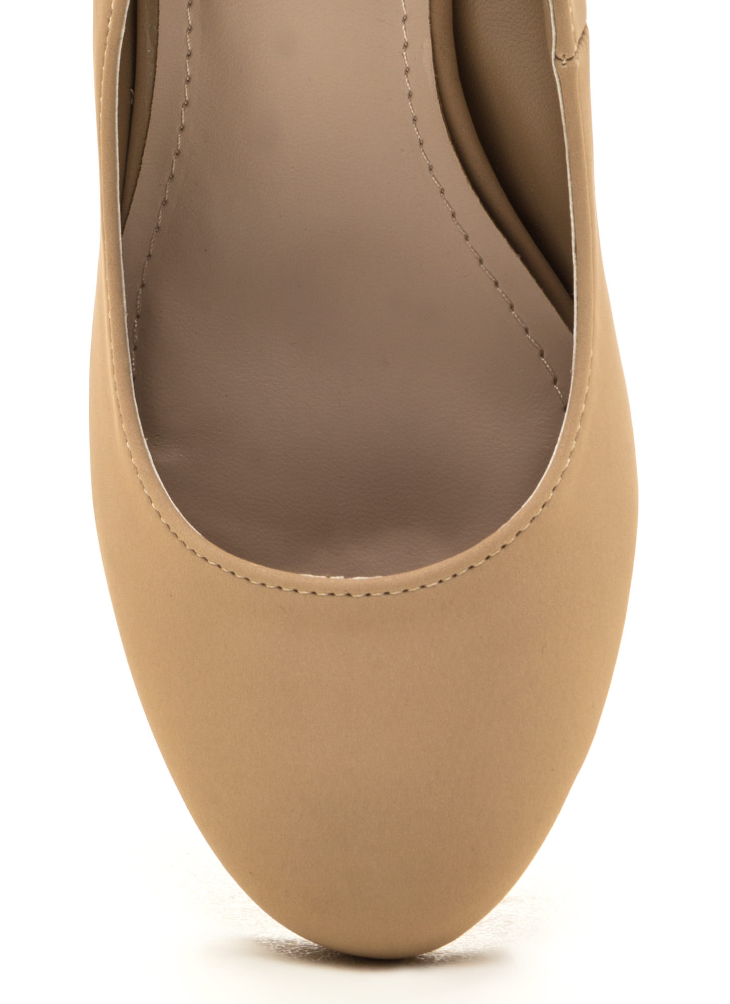 Walk For Miles Chunky Faux Nubuck Pumps NUDE