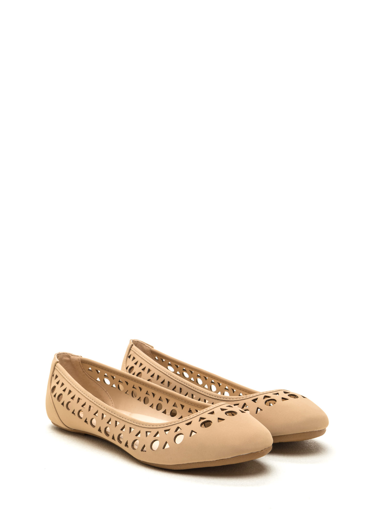 Geo Dreams Cut-Out Ballet Flats NUDE