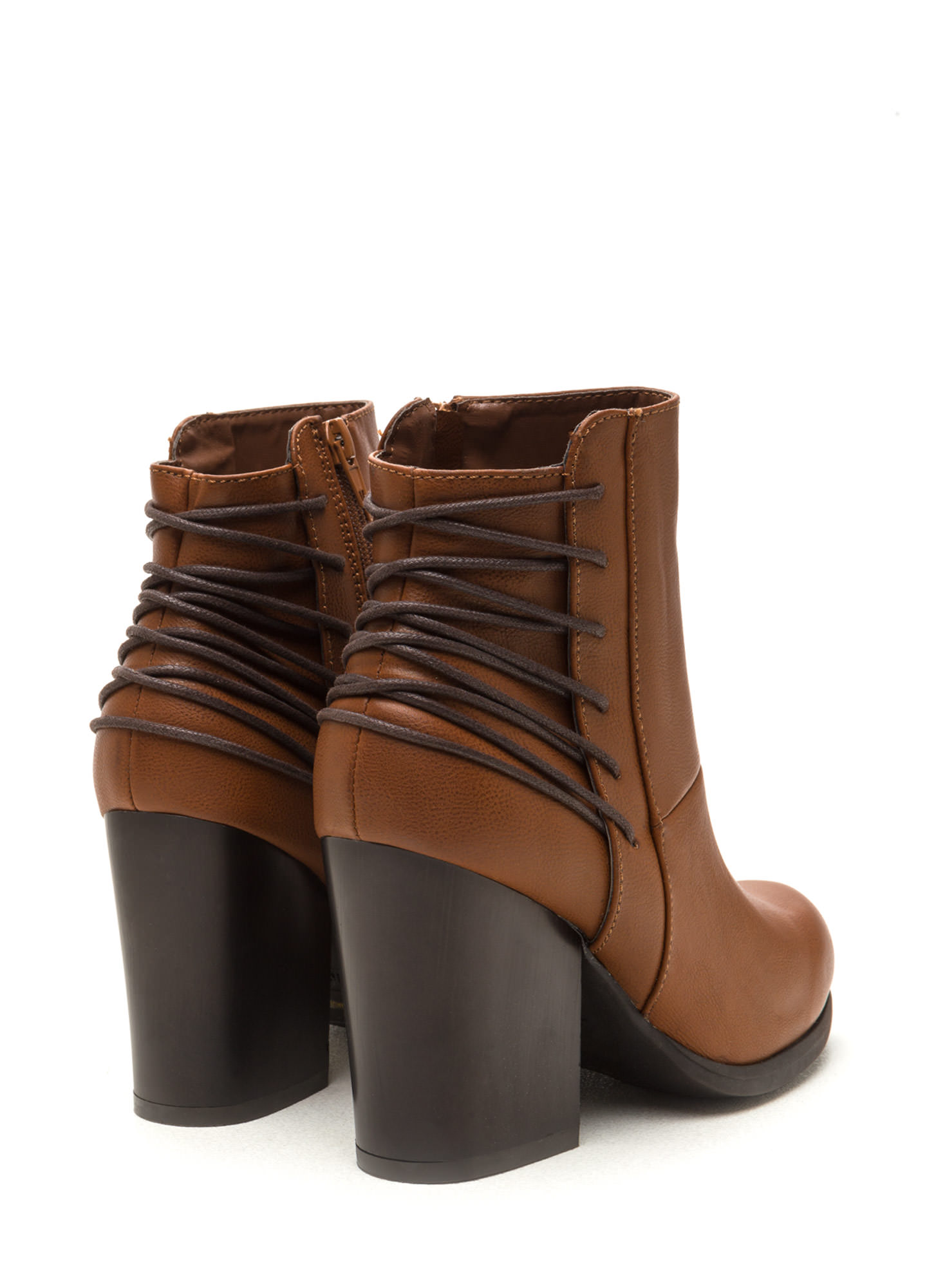 Say Hello Laced Back Block Booties CHESTNUT