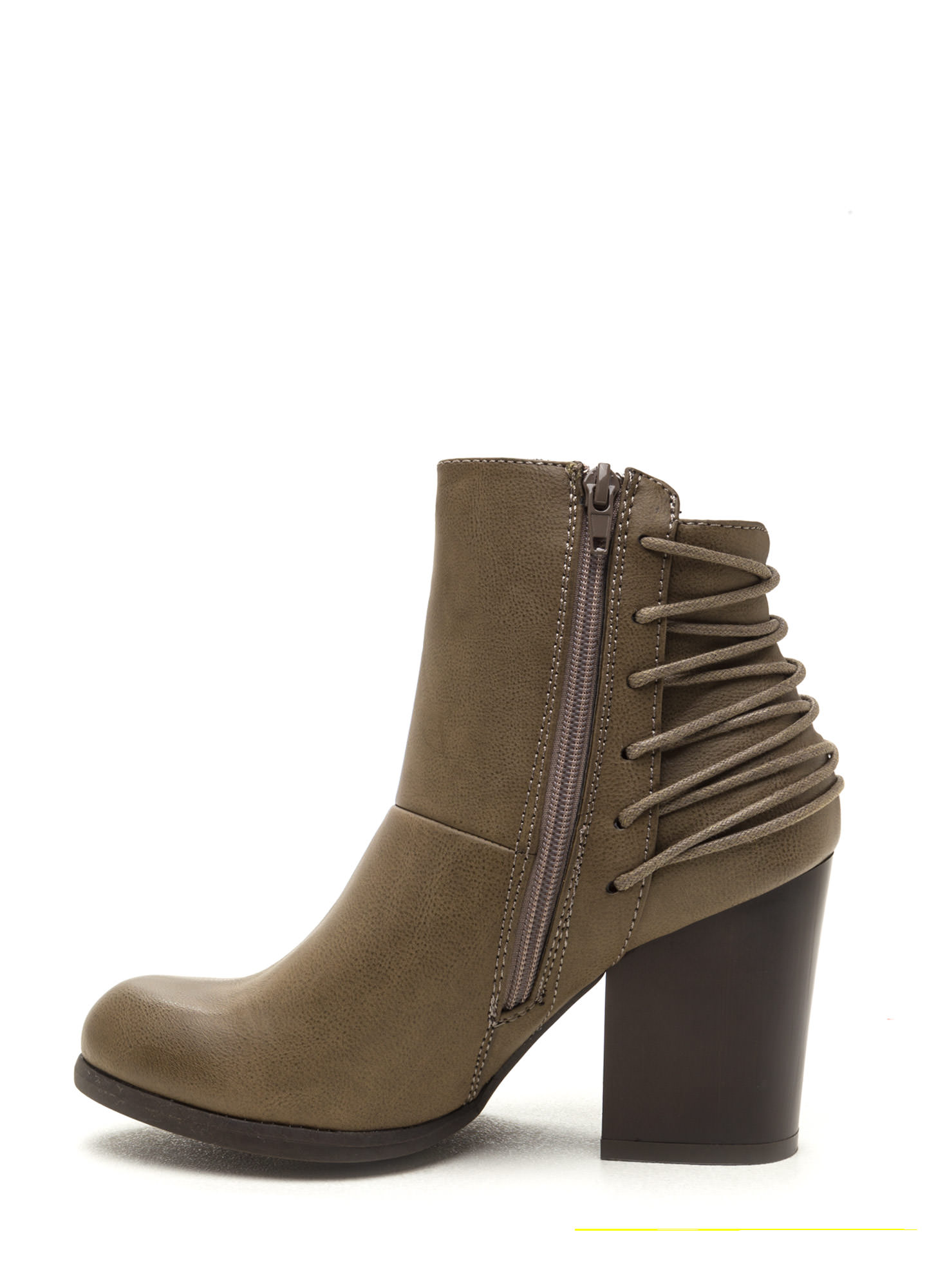 Say Hello Laced Back Block Booties TAUPE