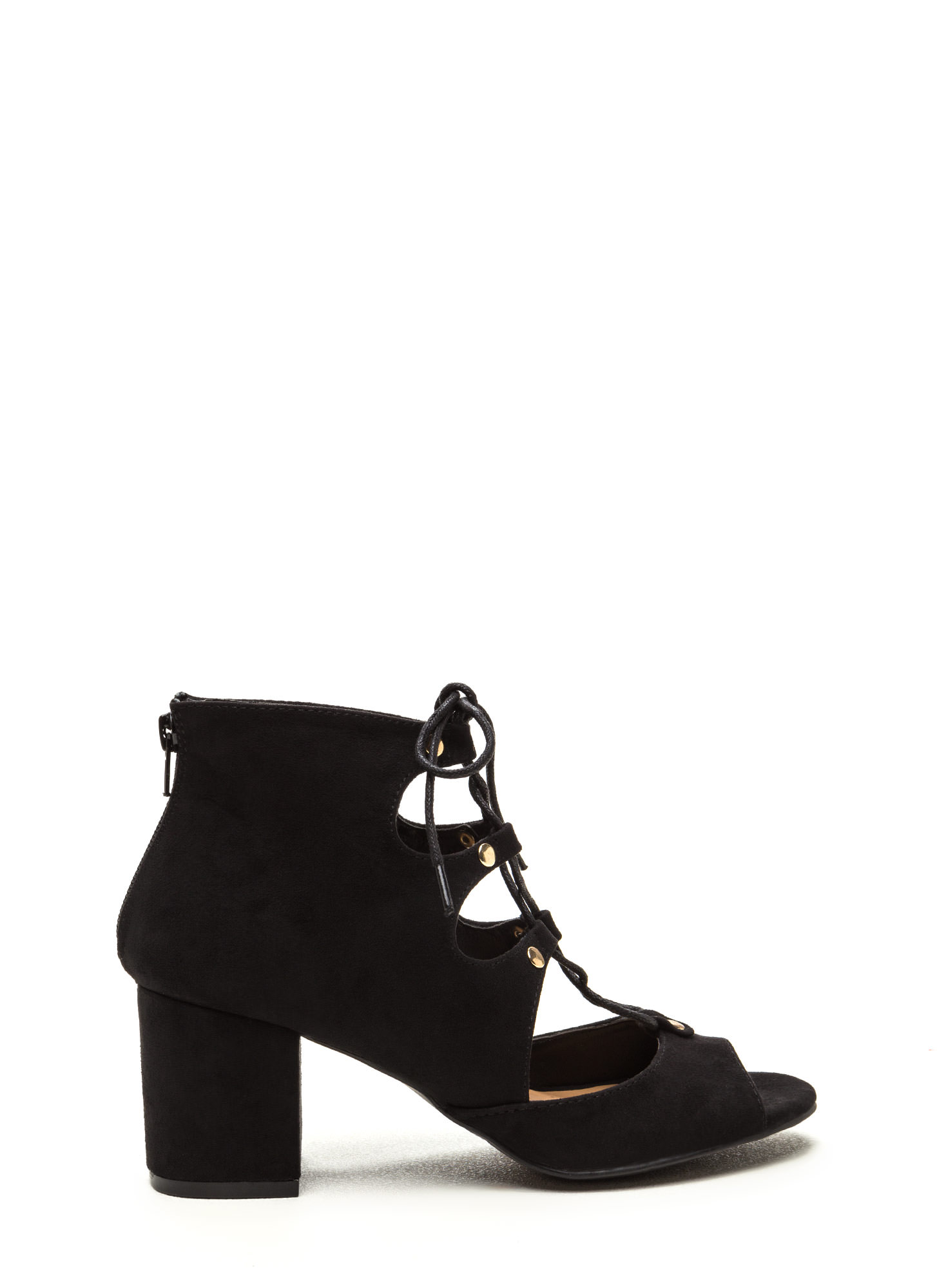 Bound For Greatness Lace-Up Block Heels BLACK
