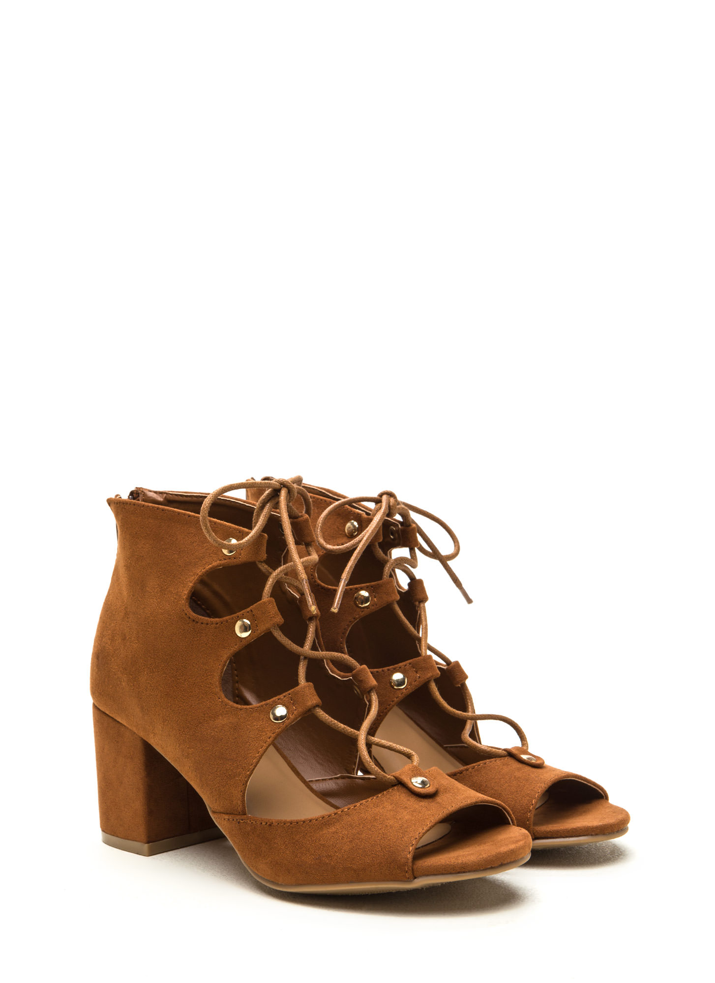 Bound For Greatness Lace-Up Block Heels CHESTNUT