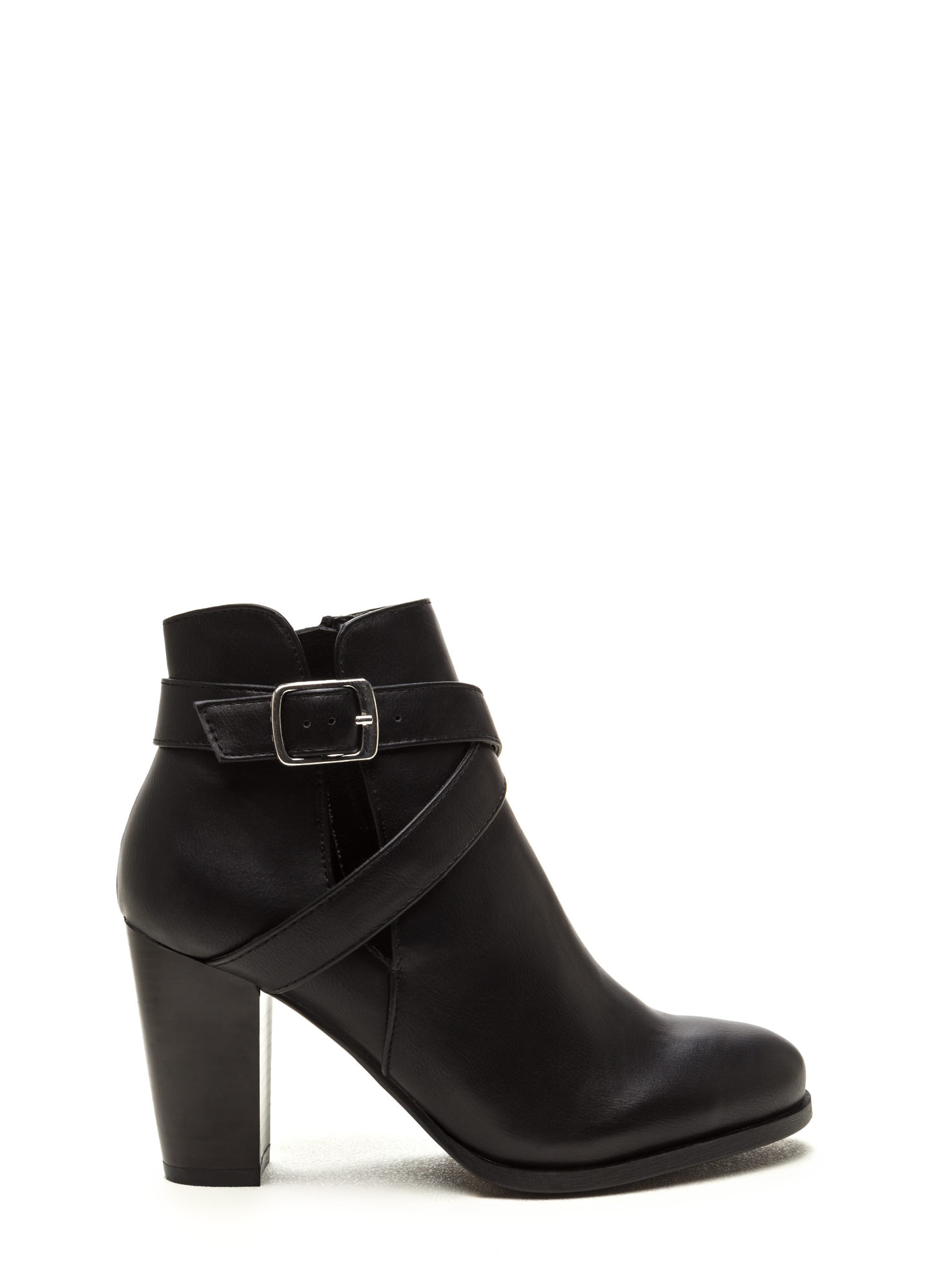 Love Factory Faux Leather Chunky Booties BLACK
