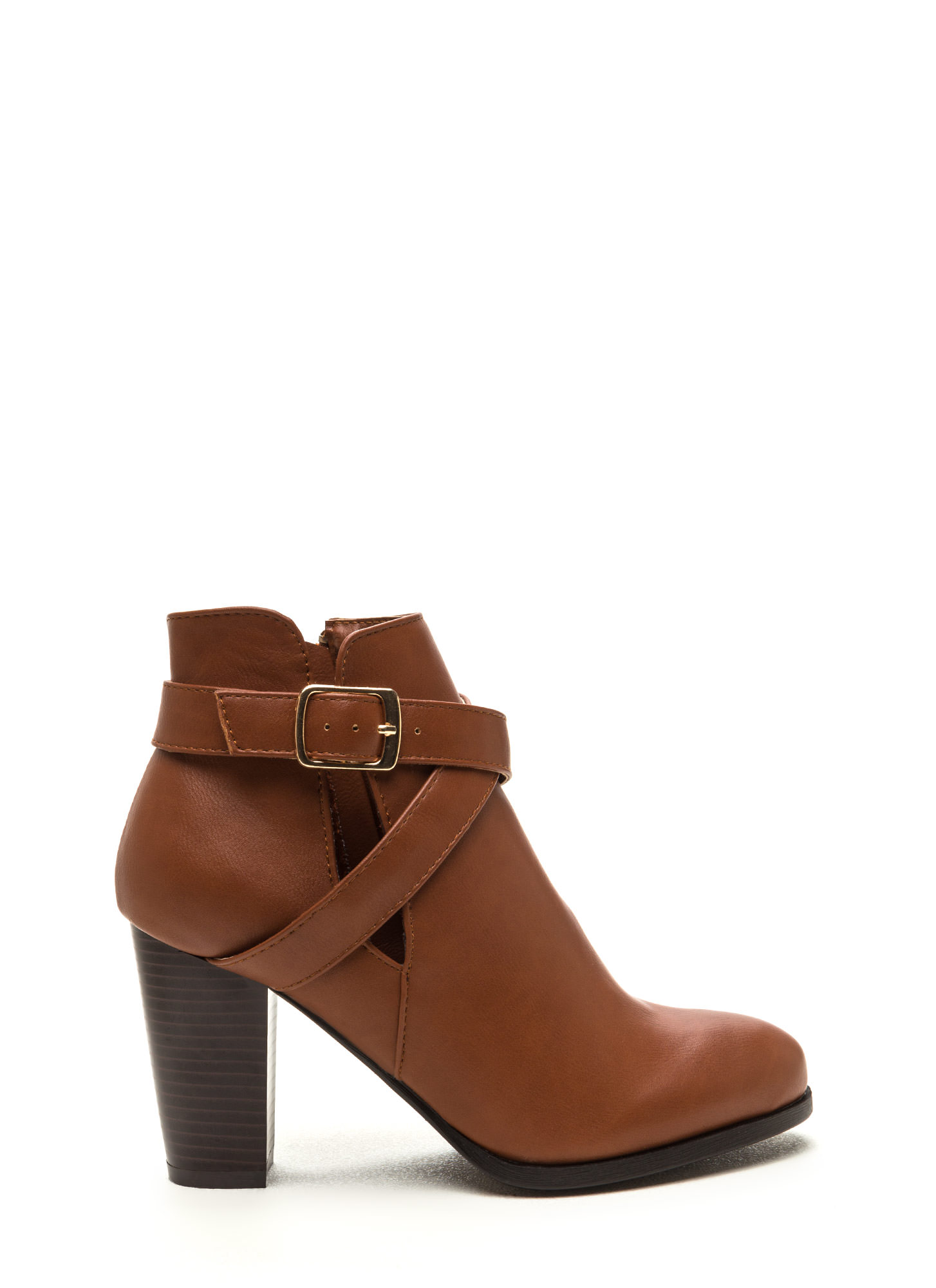 Love Factory Faux Leather Chunky Booties CHESTNUT
