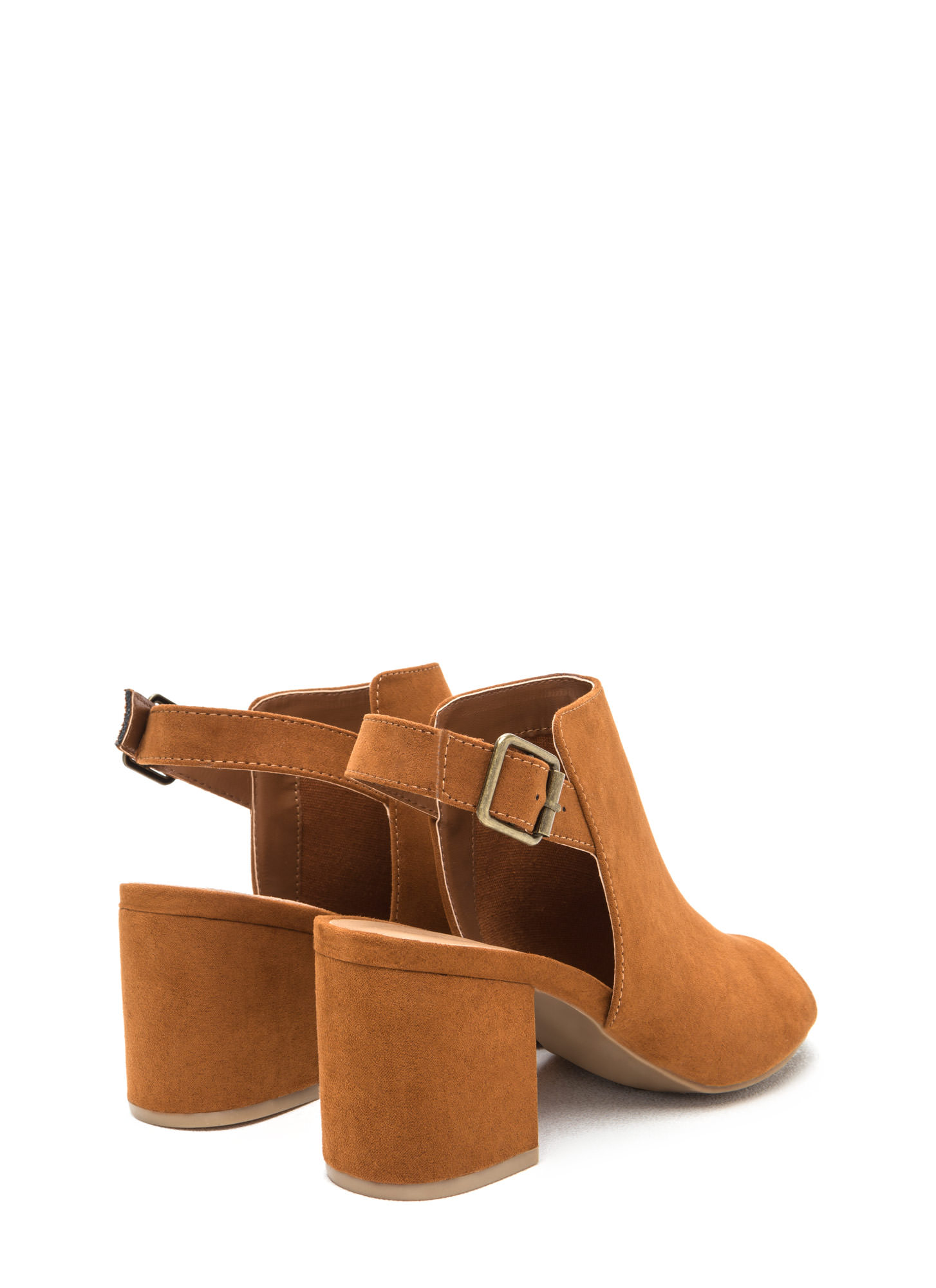 All Smiles Faux Suede Chunky Heels CHESTNUT