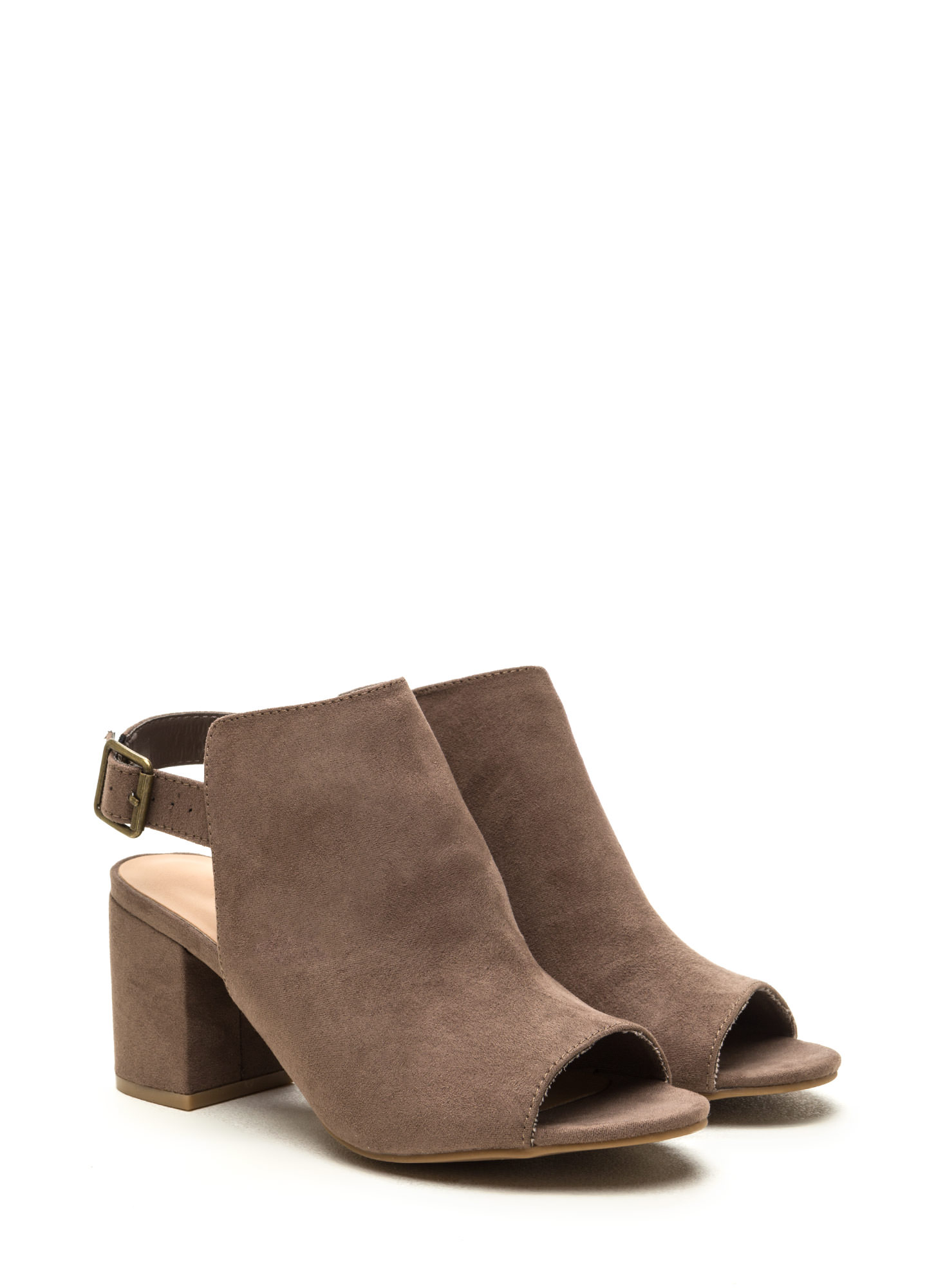 All Smiles Faux Suede Chunky Heels TAUPE