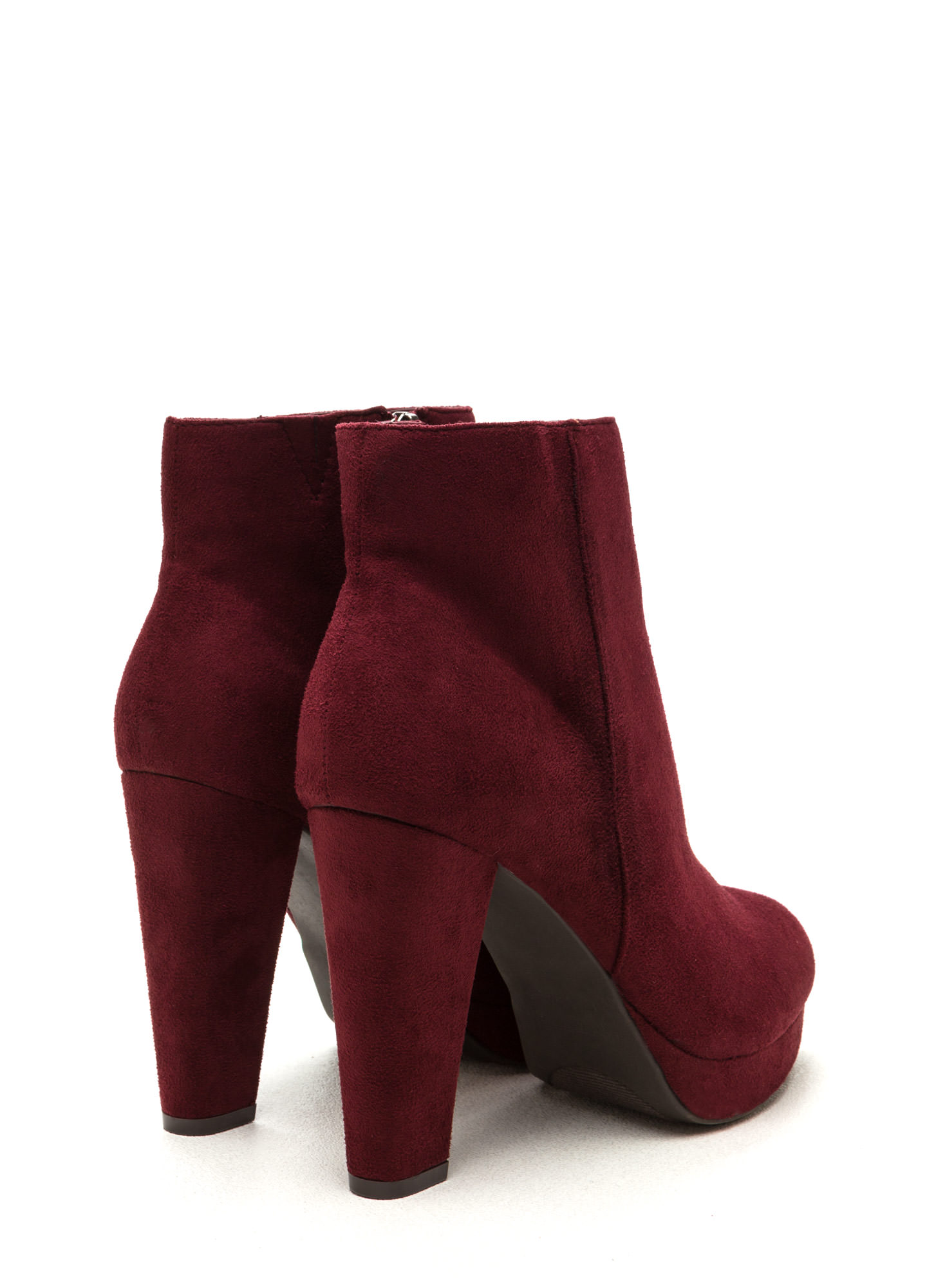 Run This City Faux Suede Booties BURGUNDY
