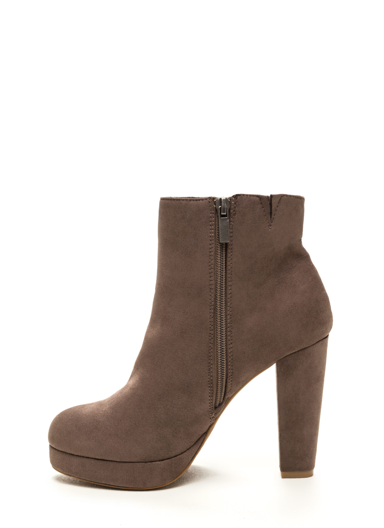 Run This City Faux Suede Booties TAUPE