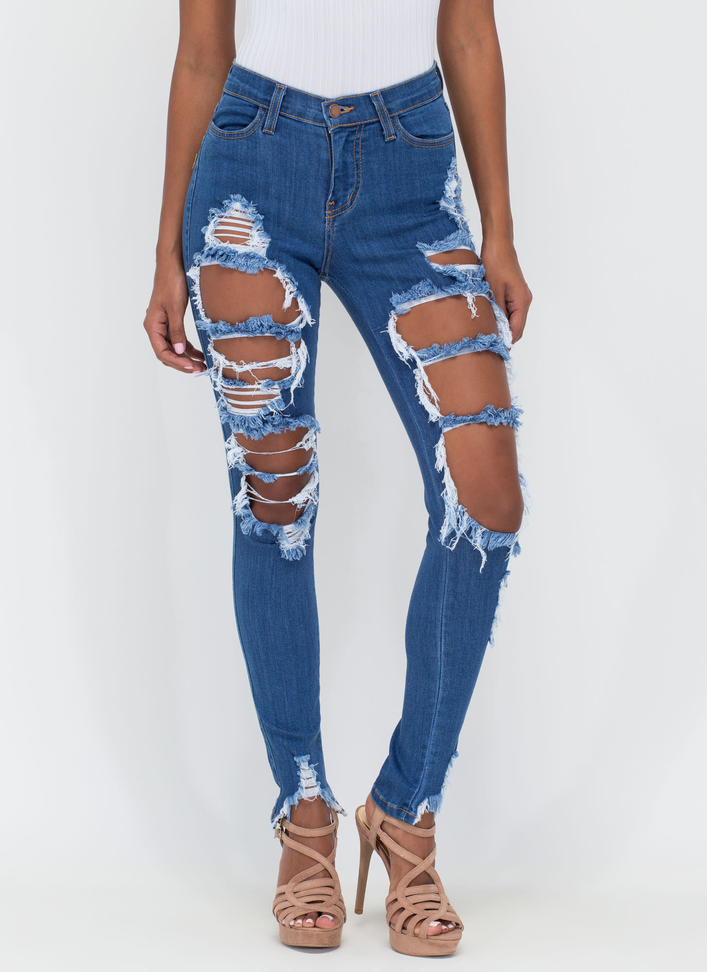 Shred-y To Rock Distressed Skinny Jeans BLUE