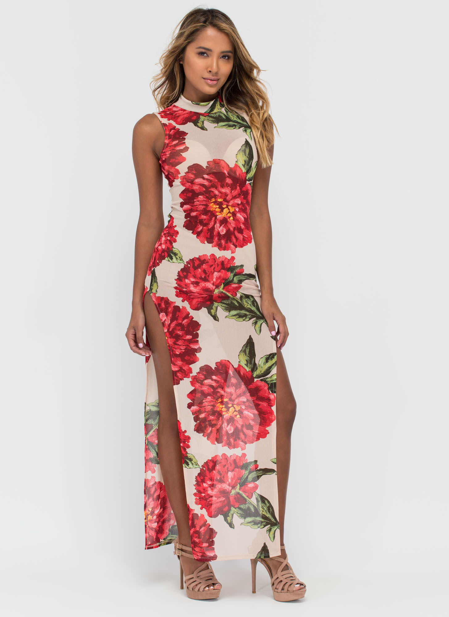 Fleur Ever Peony Double Slit Maxi Dress TAUPE
