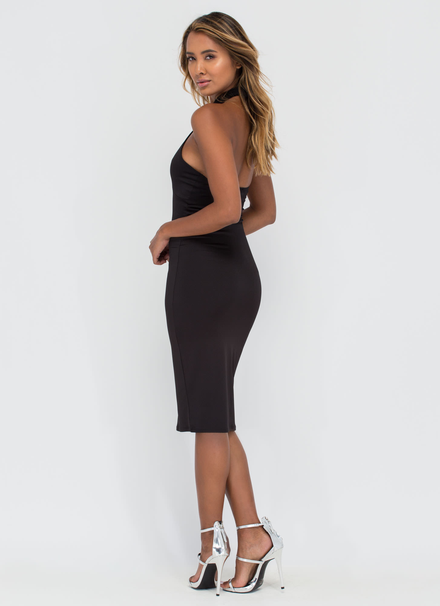 Play Your Strengths Caged Front Dress BLACK (Final Sale)