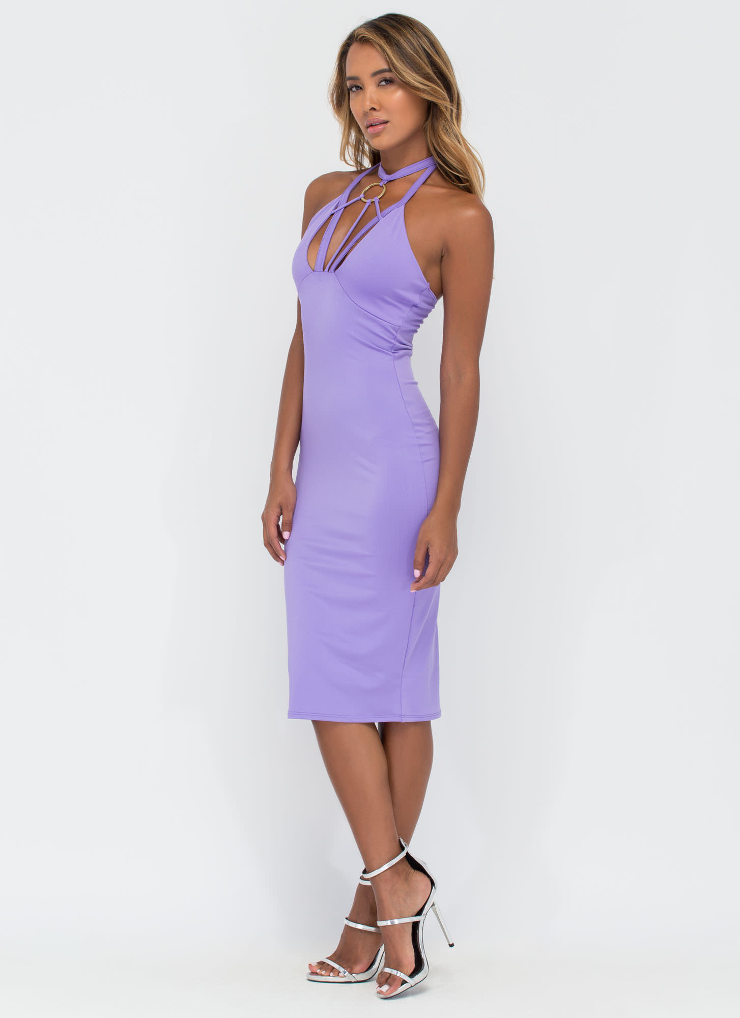 Play Your Strengths Caged Front Dress PURPLE (Final Sale)